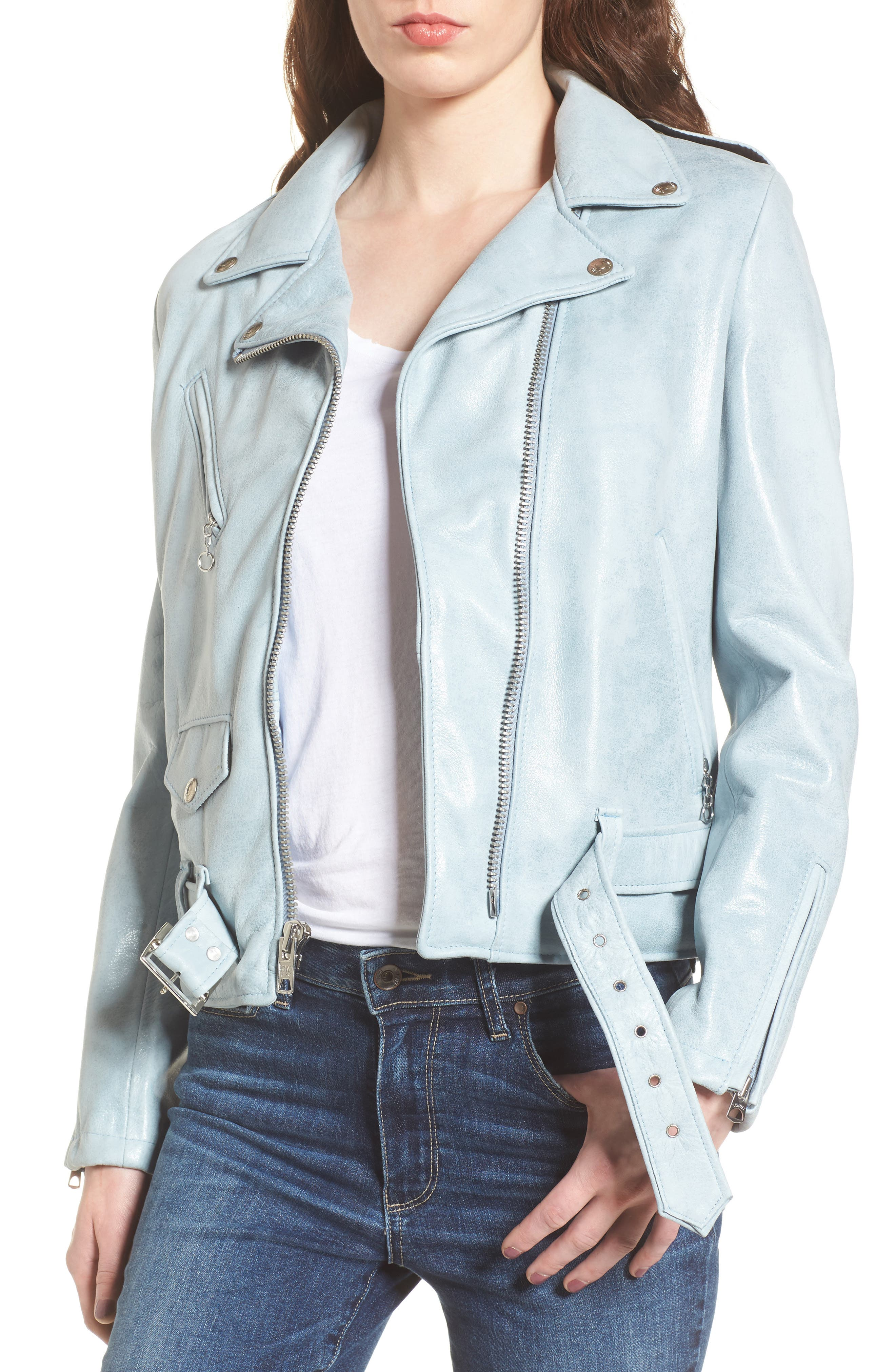 Perfecto Distressed Leather Boyfriend Jacket,                             Main thumbnail 2, color,