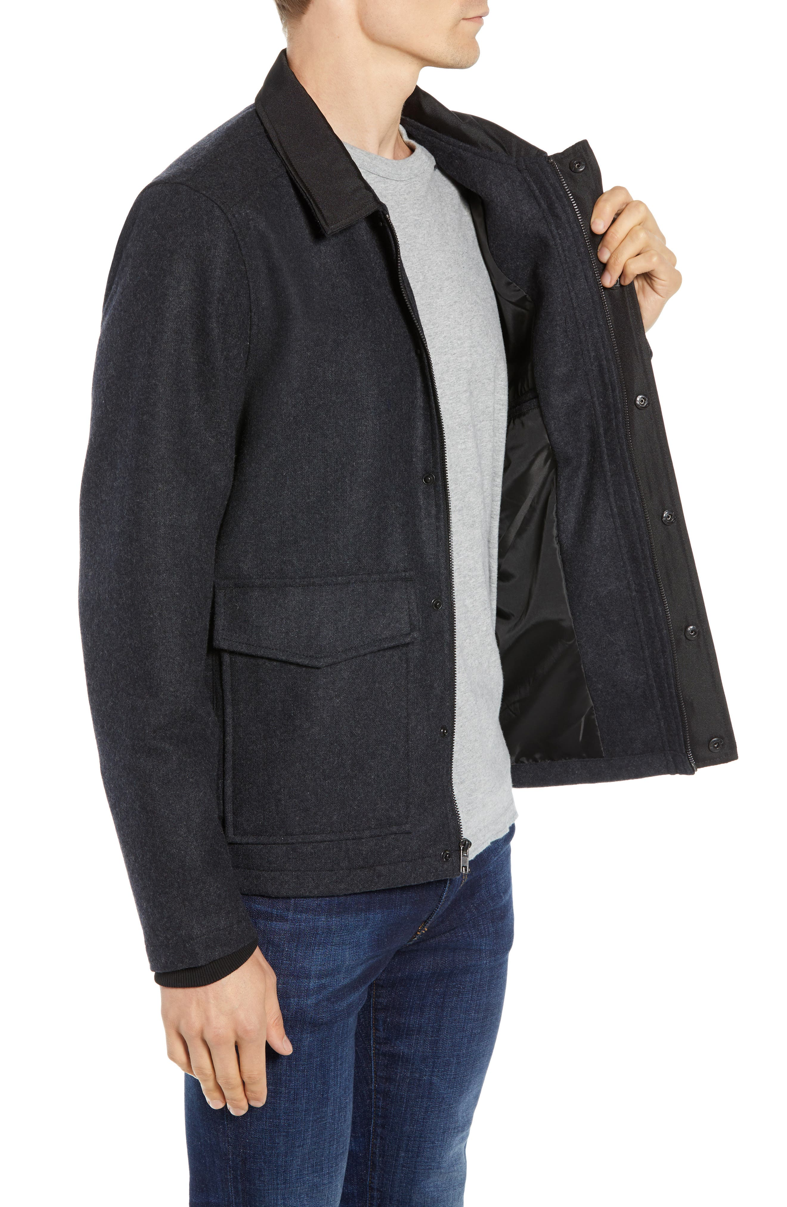 Zip Front Jacket,                             Alternate thumbnail 3, color,                             GREY