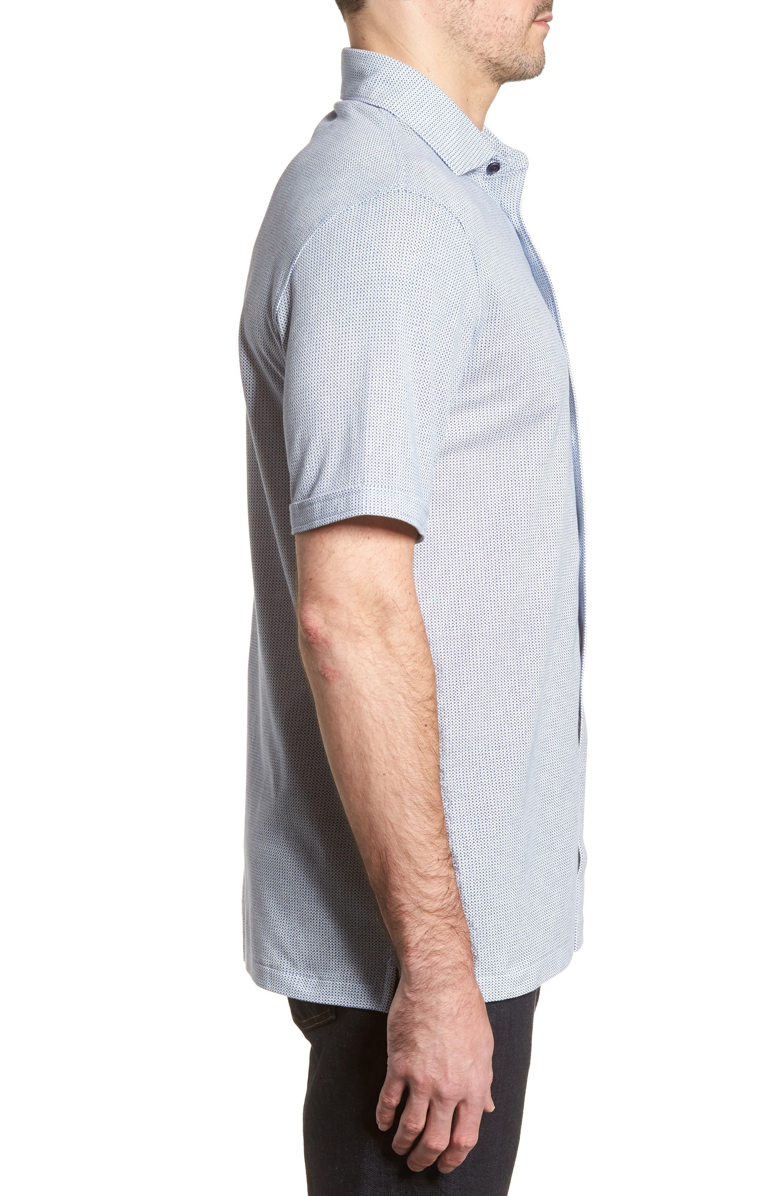 BUGATCHI,                             Shaped Fit Microprint Sport Shirt,                             Alternate thumbnail 3, color,                             CLASSIC BLUE