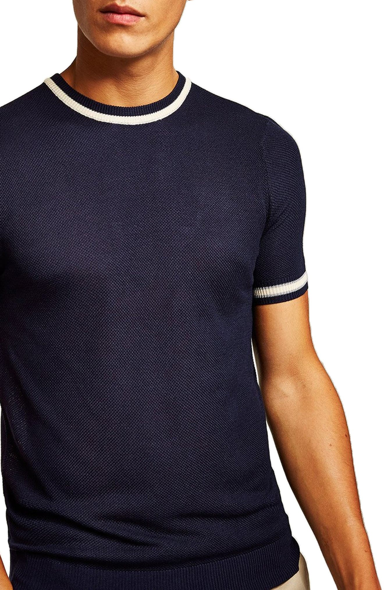 Tipping Classic Fit Short Sleeve Sweater,                         Main,                         color, NAVY BLUE