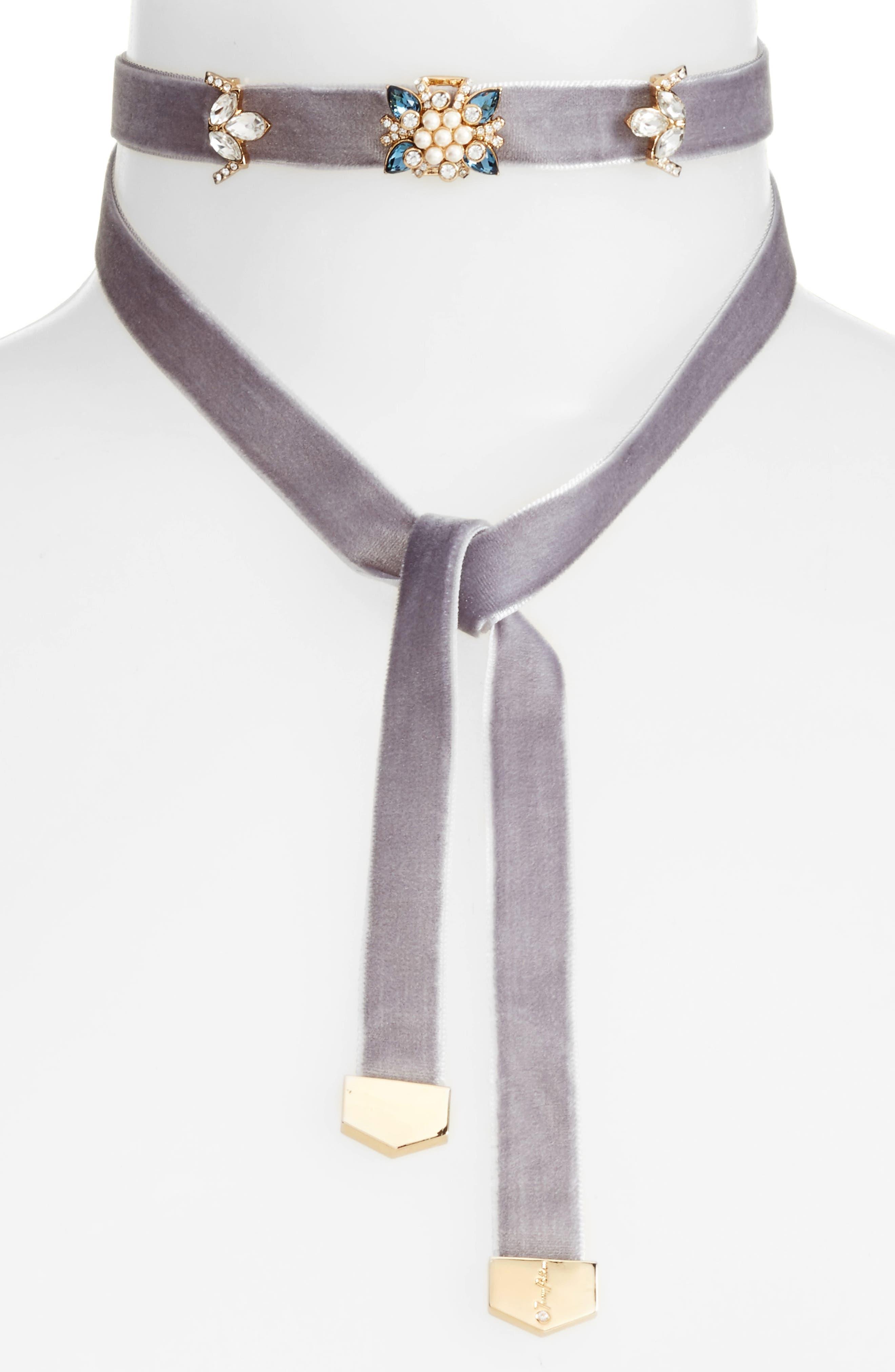 Embellished Velvet Wrap Choker Necklace,                         Main,                         color, GREY/ GOLD