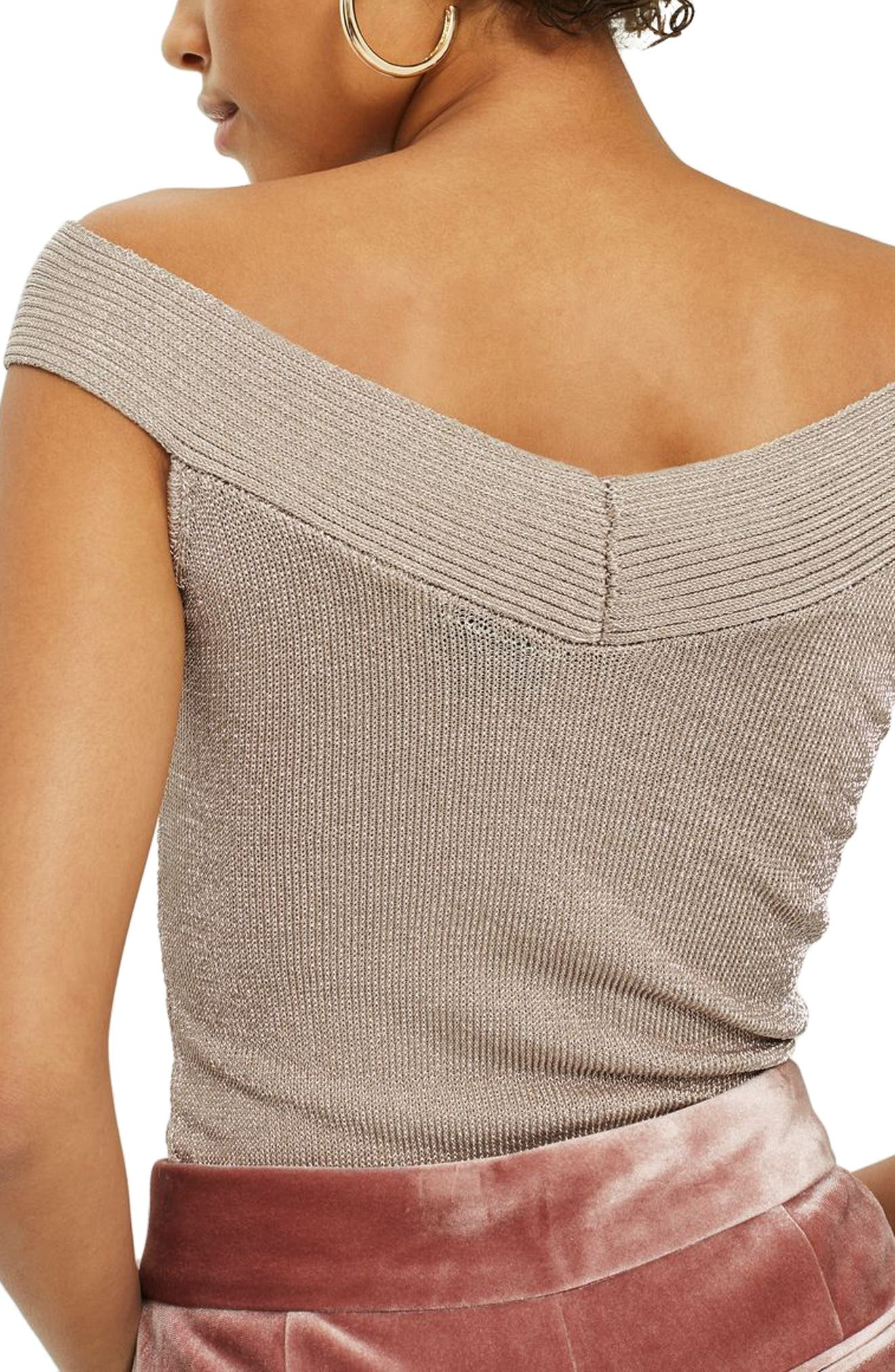 Metallic Off the Shoulder Knit Top,                             Alternate thumbnail 2, color,                             680