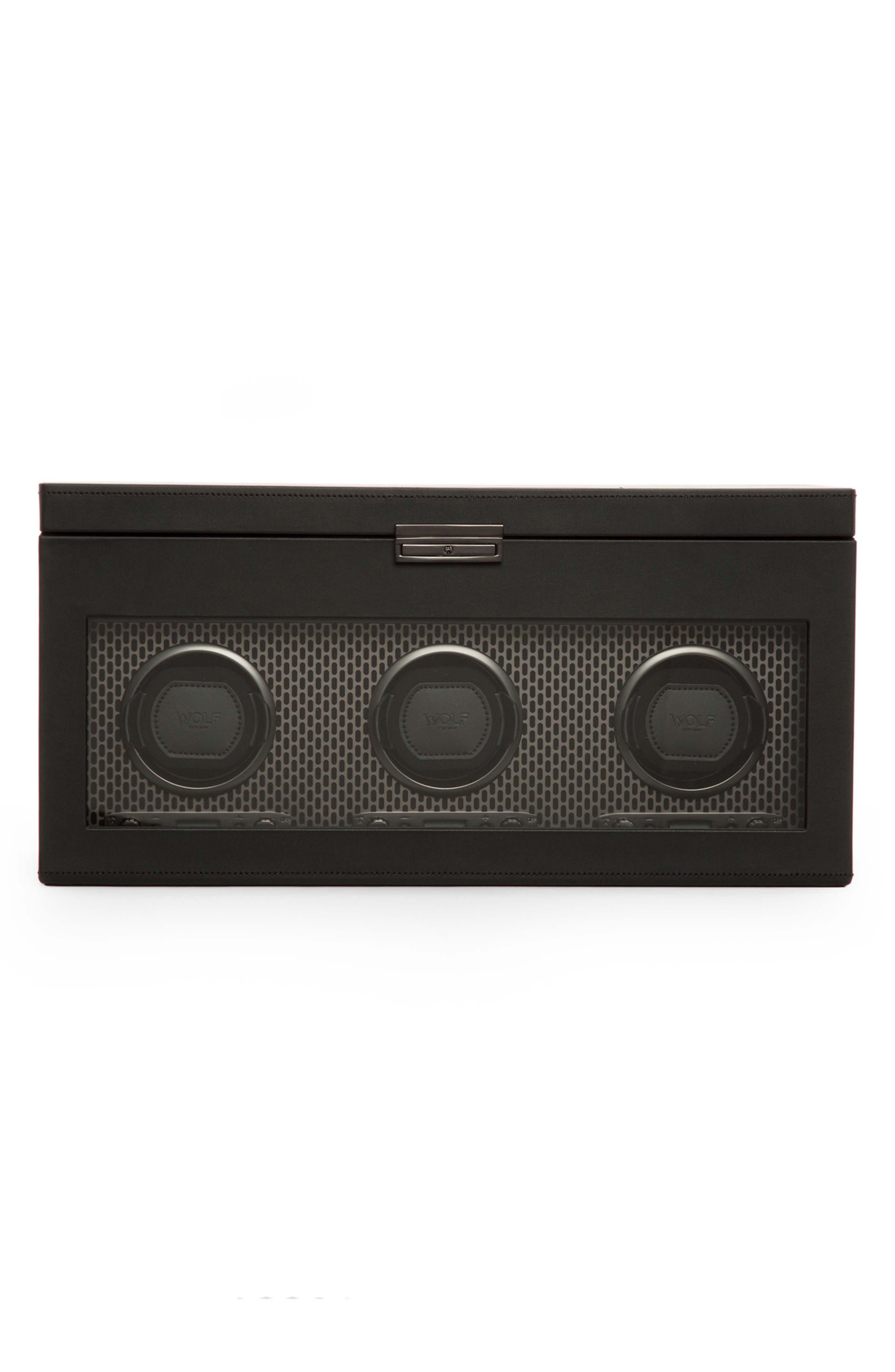 Axis Triple Watch Winder & Case,                         Main,                         color, POWDER COAT