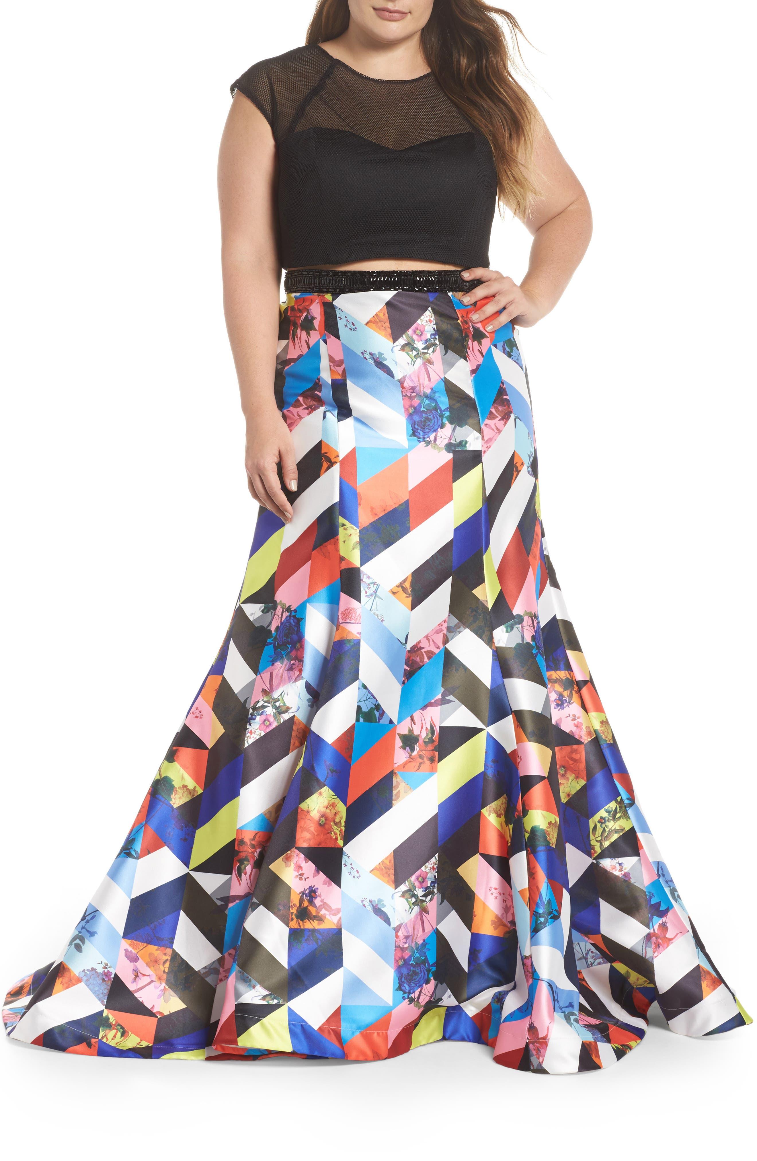 Mesh & Print Two-Piece Gown,                             Main thumbnail 1, color,                             BLACK/ MULTI