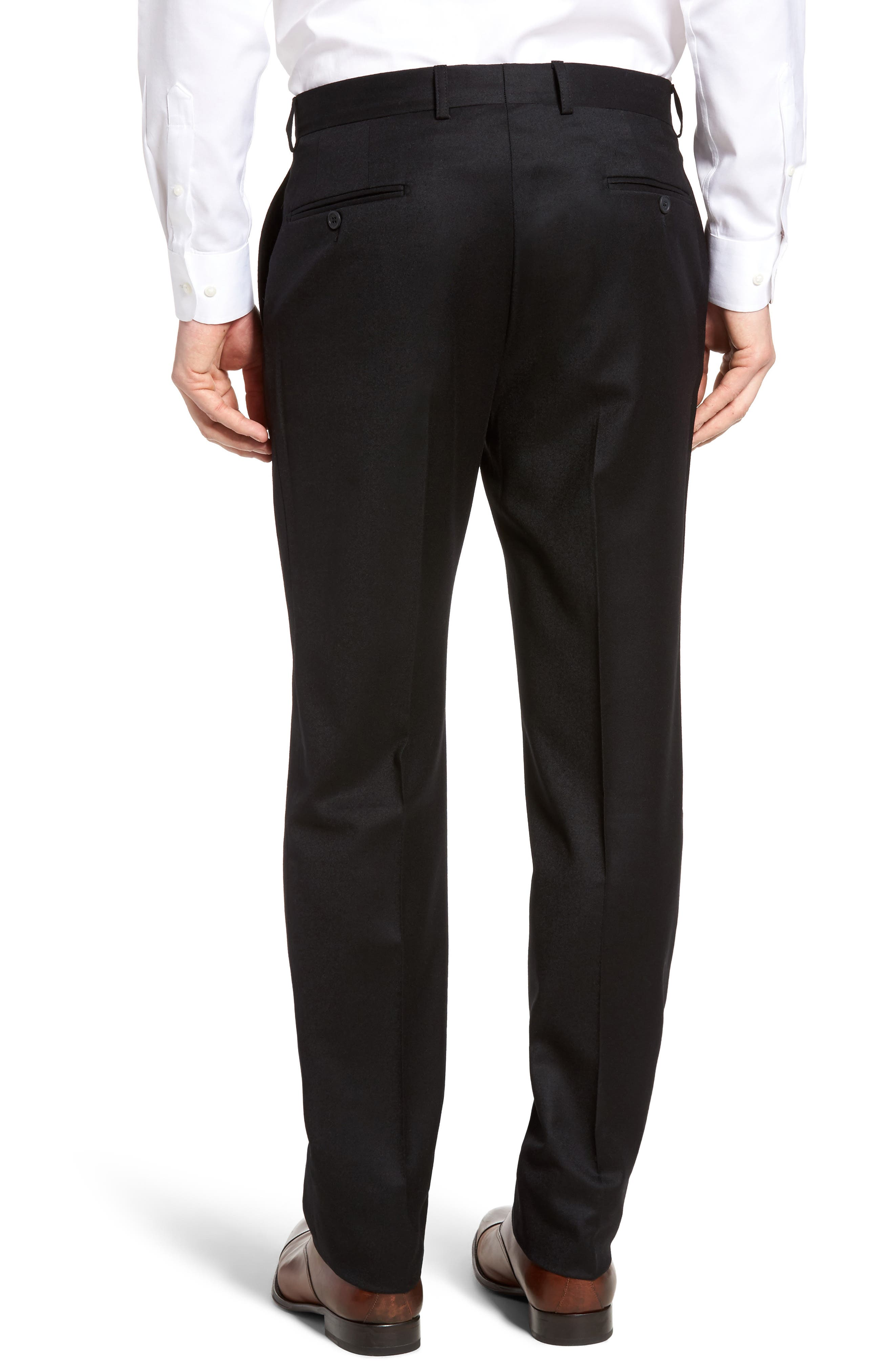 Flannel Wool Trousers,                             Alternate thumbnail 3, color,                             001