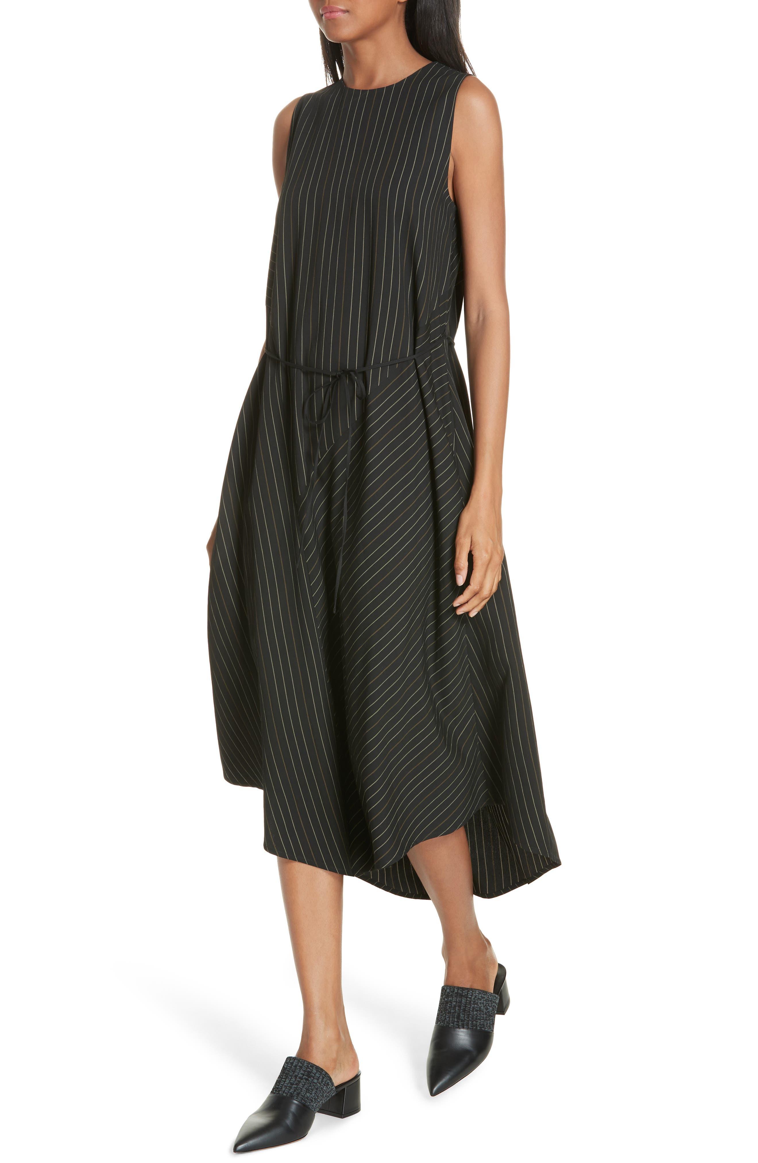 Bar Stripe Paneled Dress,                             Alternate thumbnail 4, color,                             BLACK