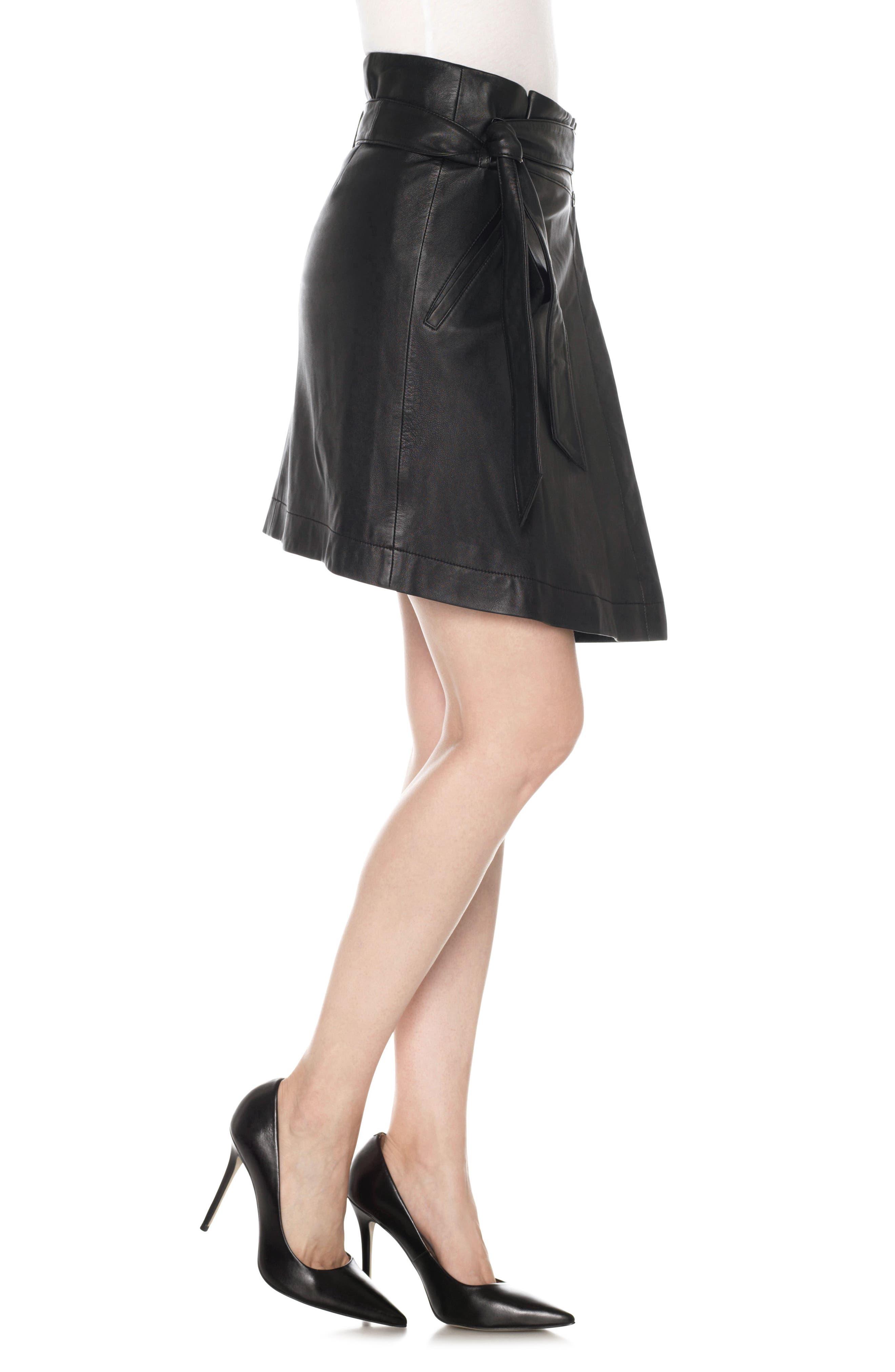 Tatum Paperbag Waist Leather Skirt,                             Alternate thumbnail 3, color,                             011