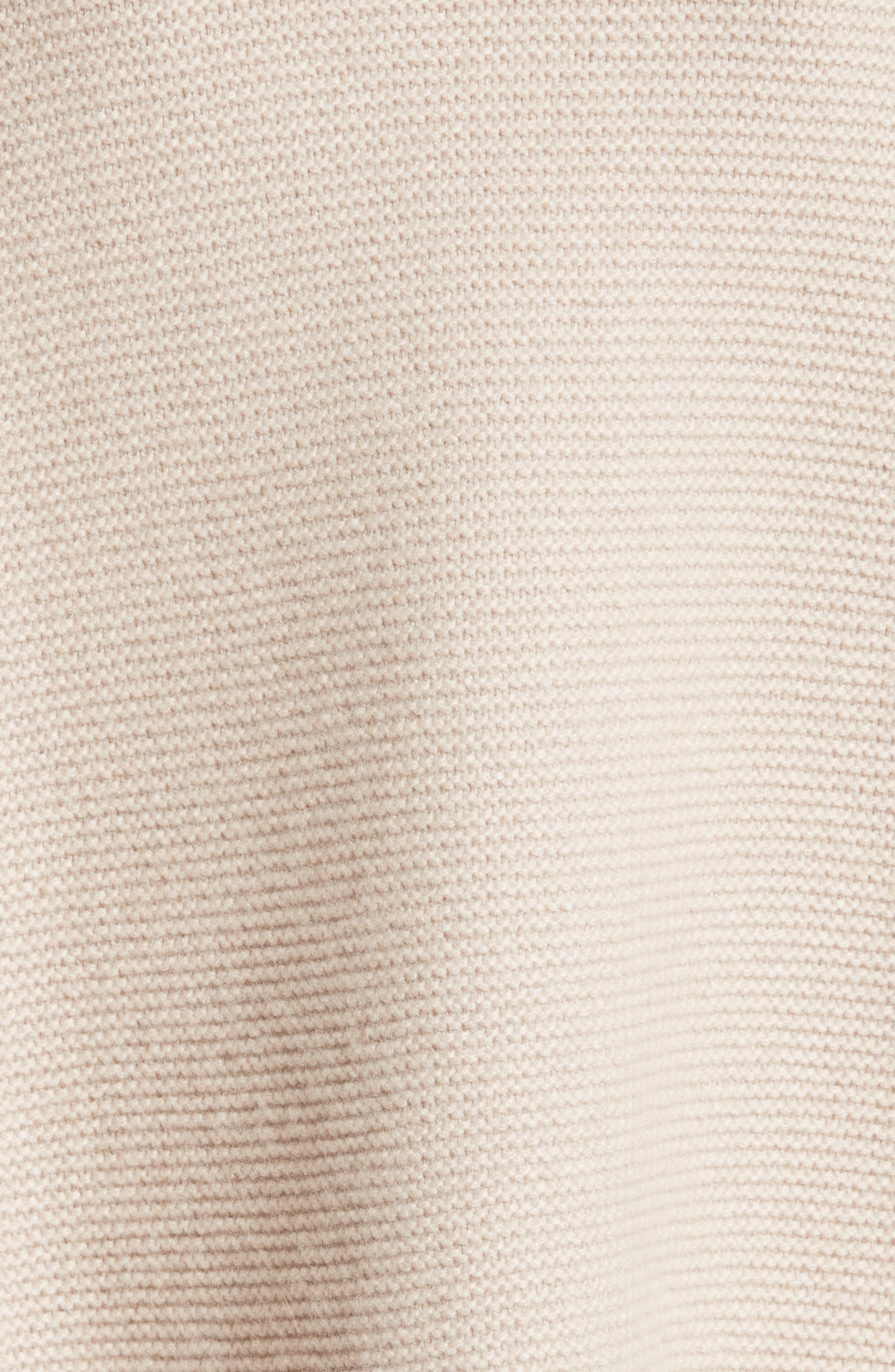 Micro Braid Cashmere Zip Cardigan with Genuine Fox Fur Trim,                             Alternate thumbnail 5, color,                             101