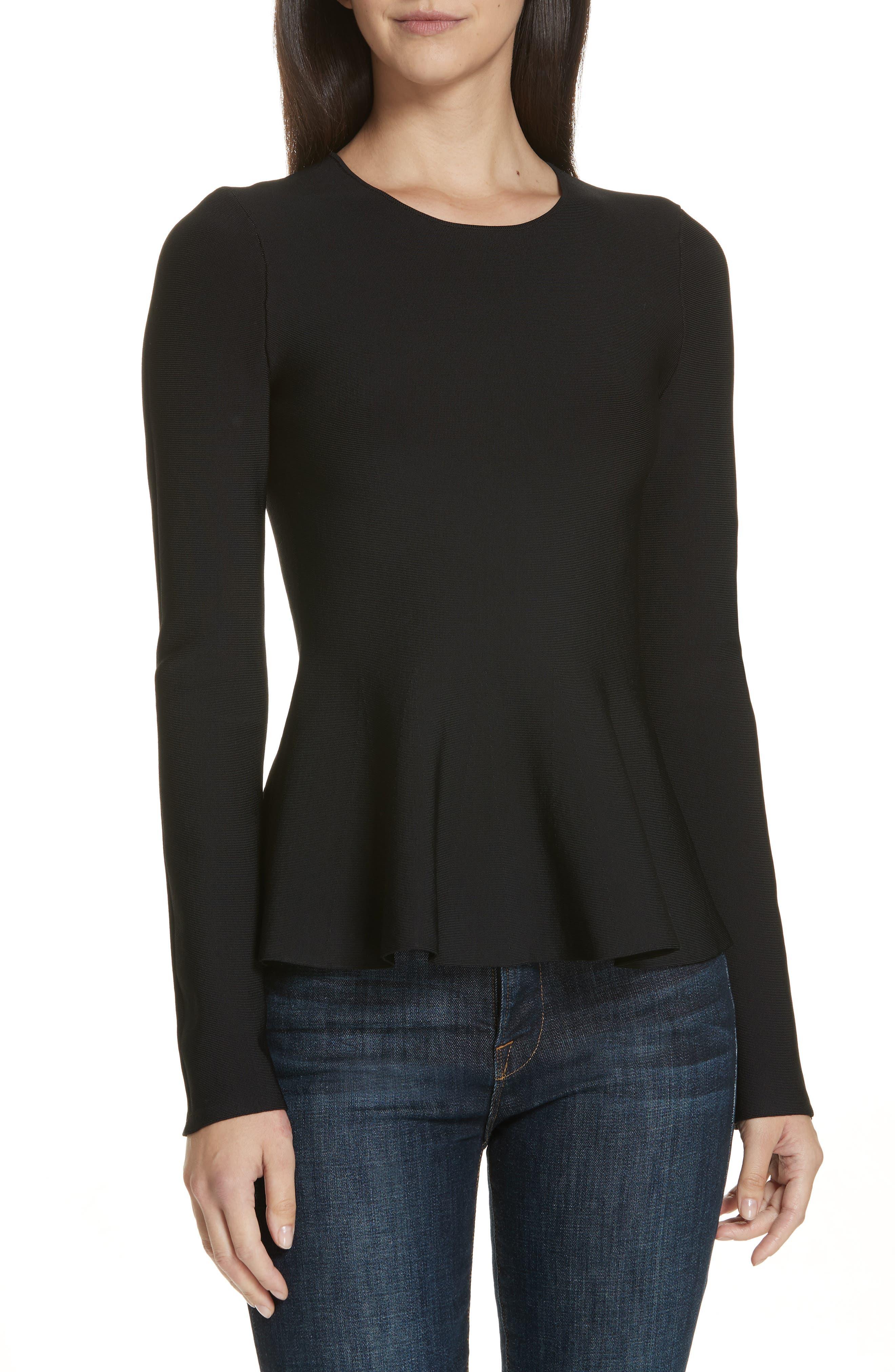 Glossed Peplum Sweater,                         Main,                         color, BLACK