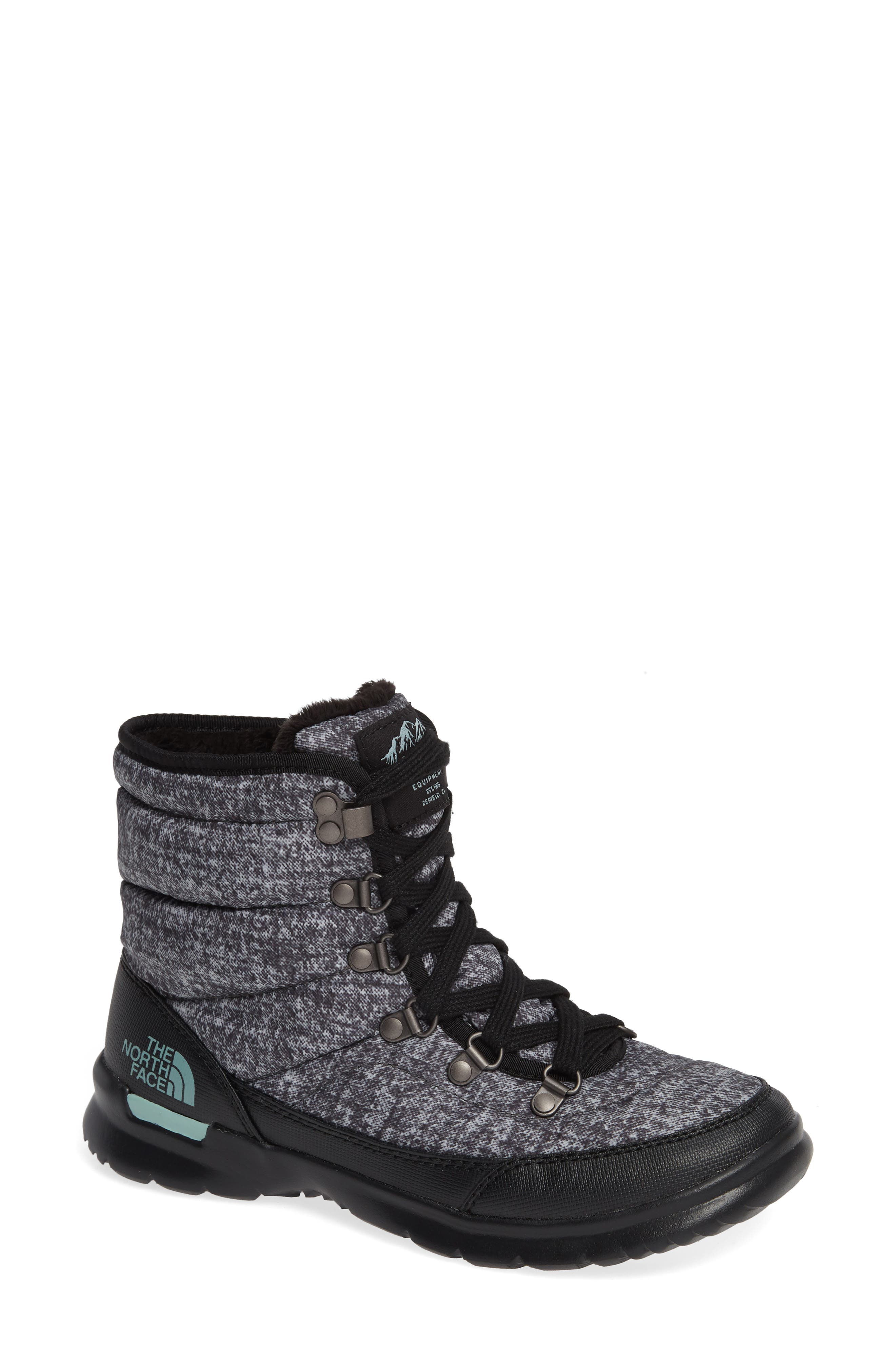 Lace II ThermoBall<sup>™</sup> Insulated Winter Boot,                         Main,                         color, HOUNDS TOOTH PRINT/ BLUE HAZE