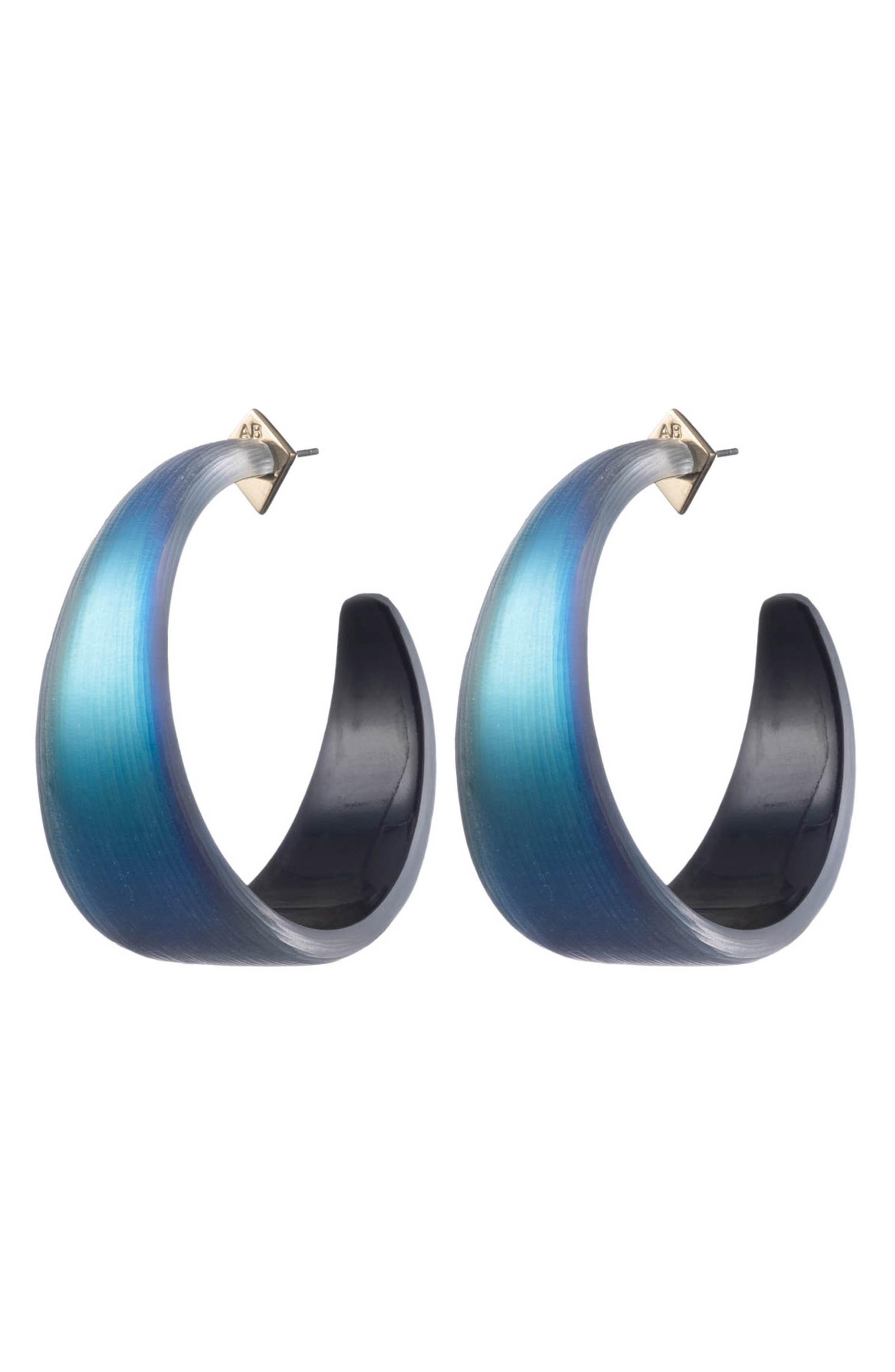 ALEXIS BITTAR Wide Graduated Medium Hoop Earrings, Main, color, BLACK BEETLE