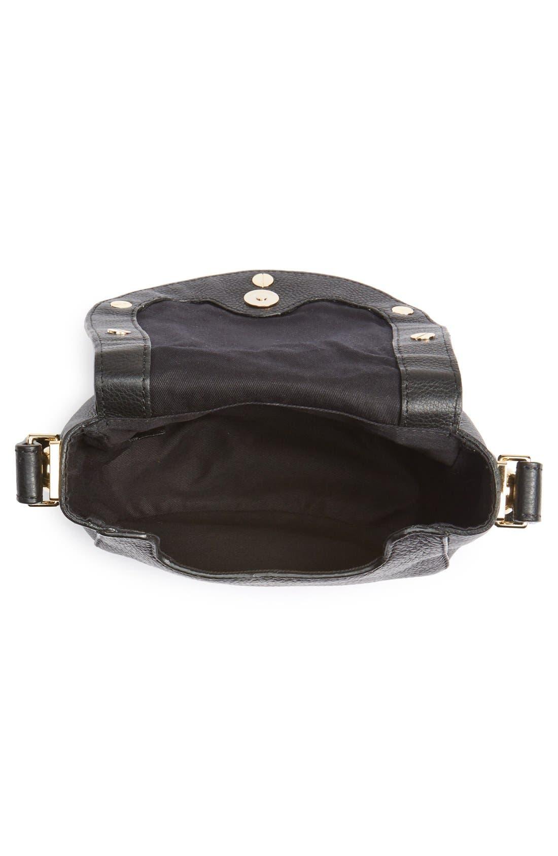 'Mini Sadie' Leather Crossbody Bag,                             Alternate thumbnail 4, color,                             001