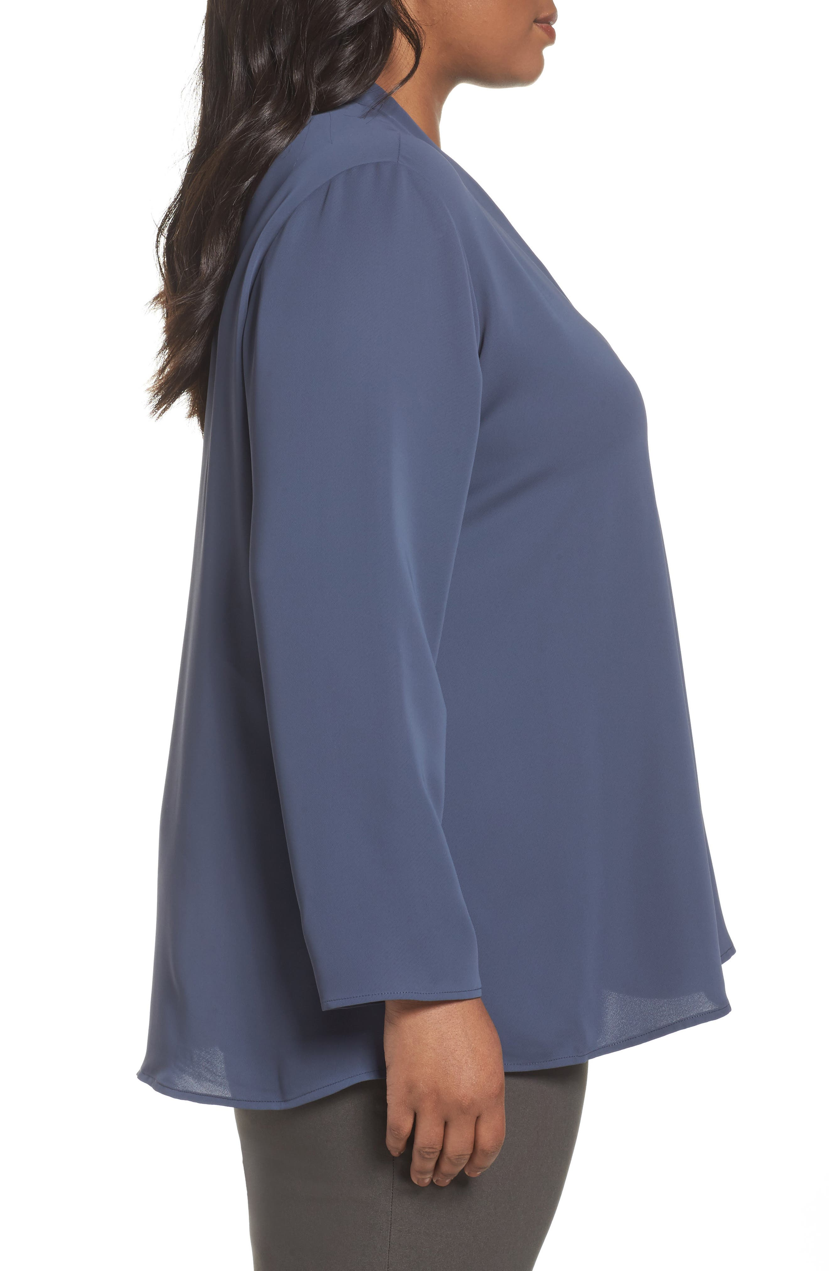 Majestic Matte Satin Blouse,                             Alternate thumbnail 3, color,                             SLATE