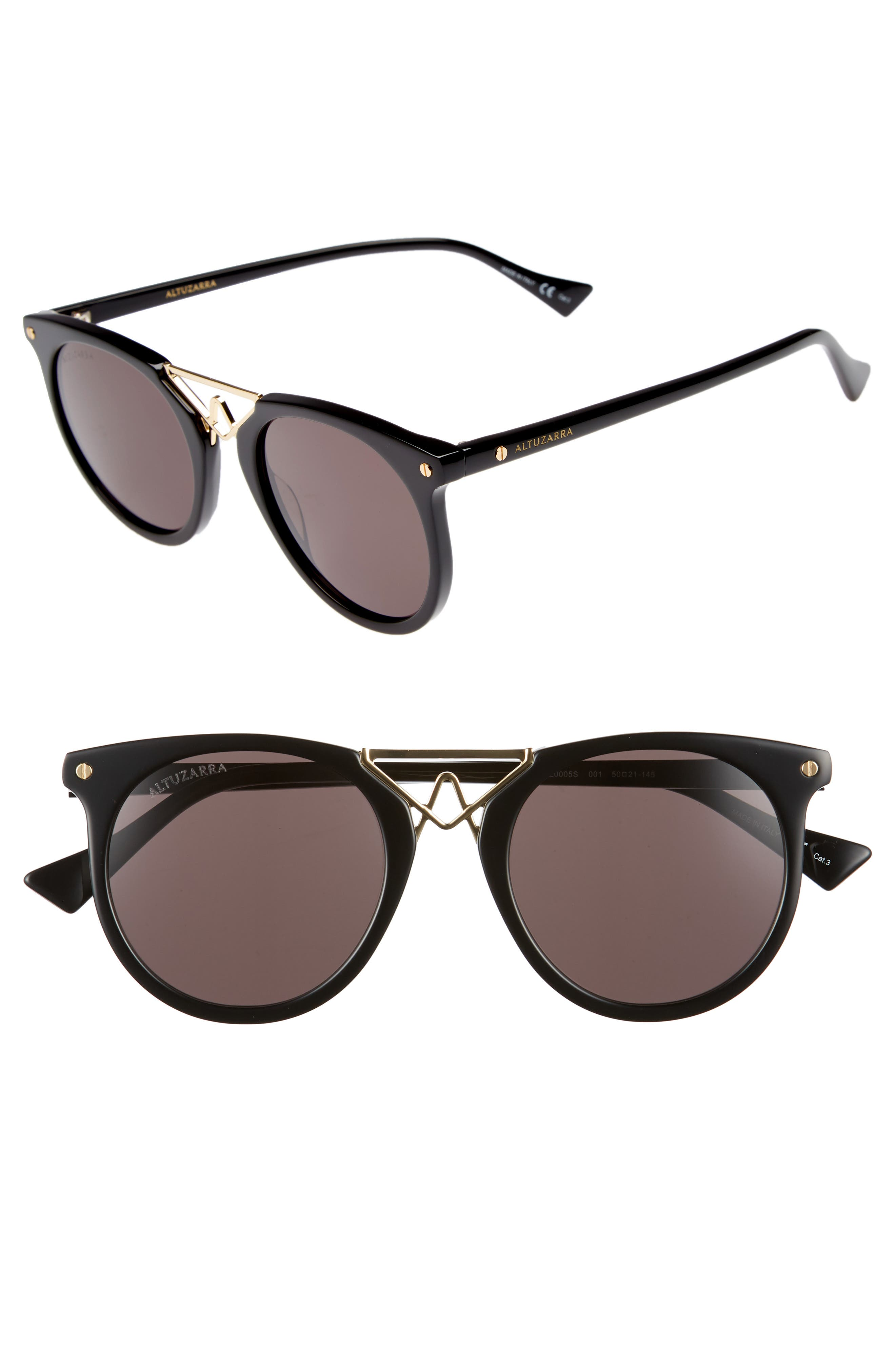 50mm Round Sunglasses,                         Main,                         color, BLACK/ GOLD