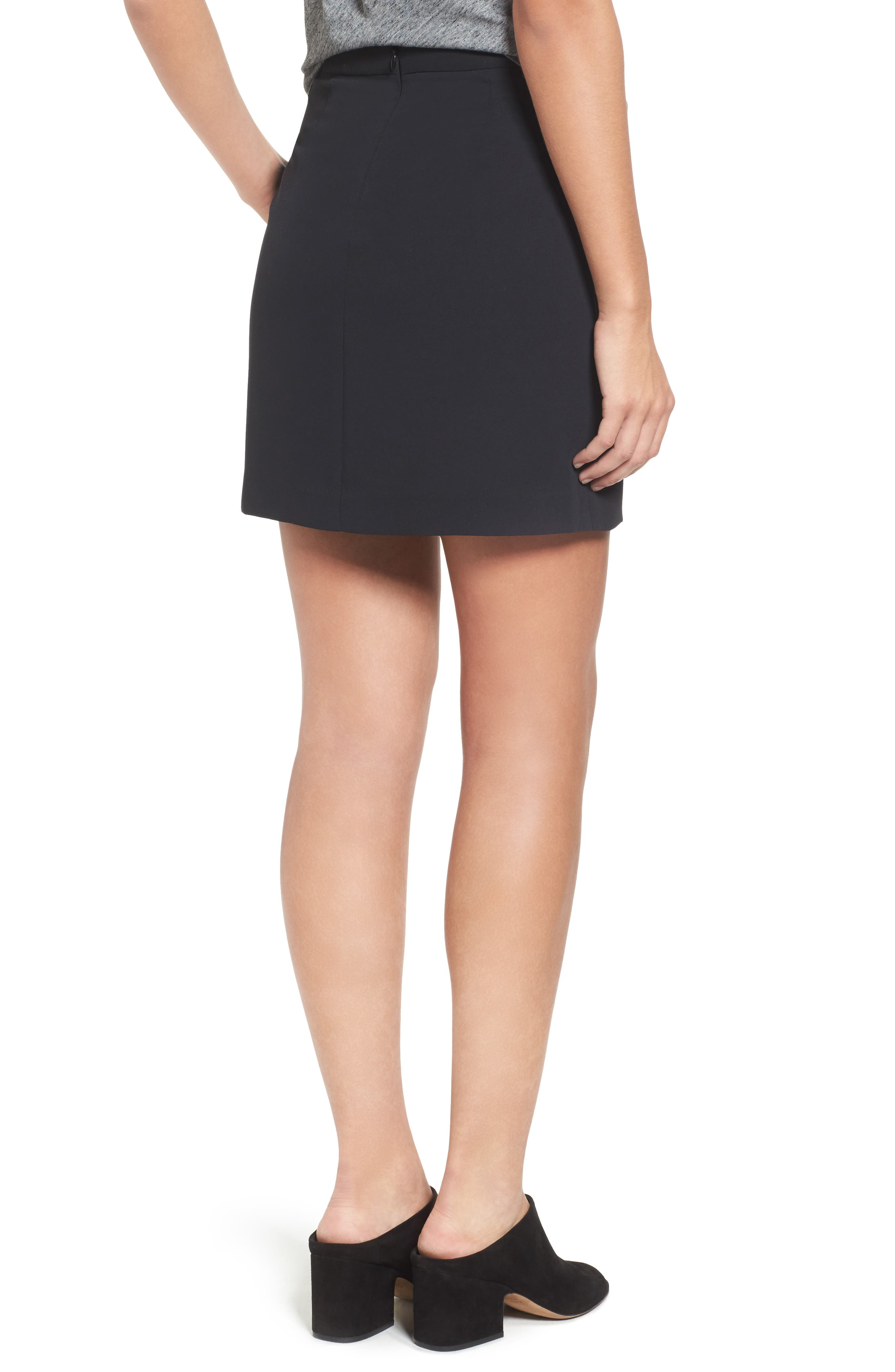 MADEWELL,                             Lace-Up Skirt,                             Alternate thumbnail 2, color,                             001