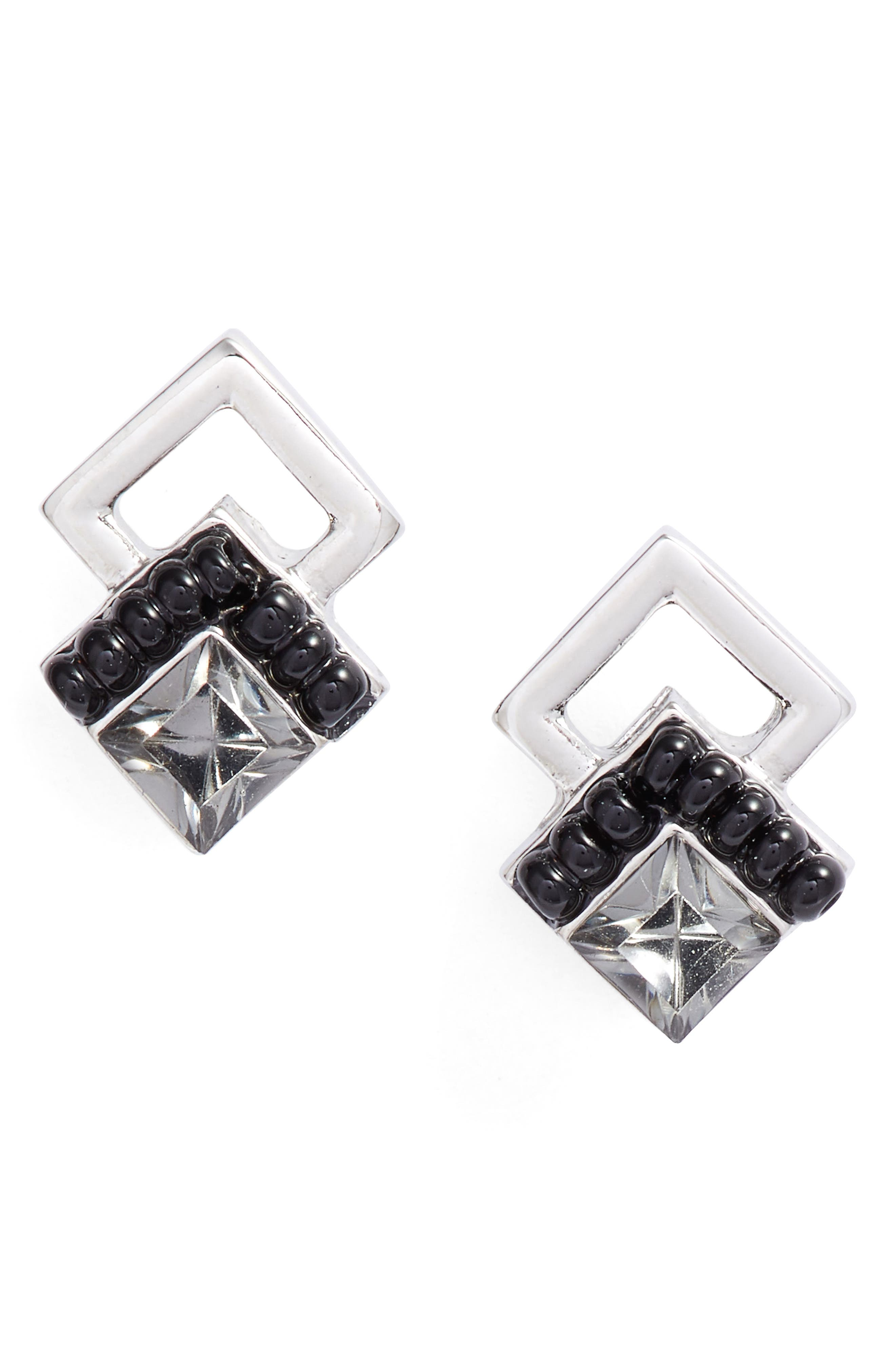 Chevron Stud Earrings, Main, color, 400