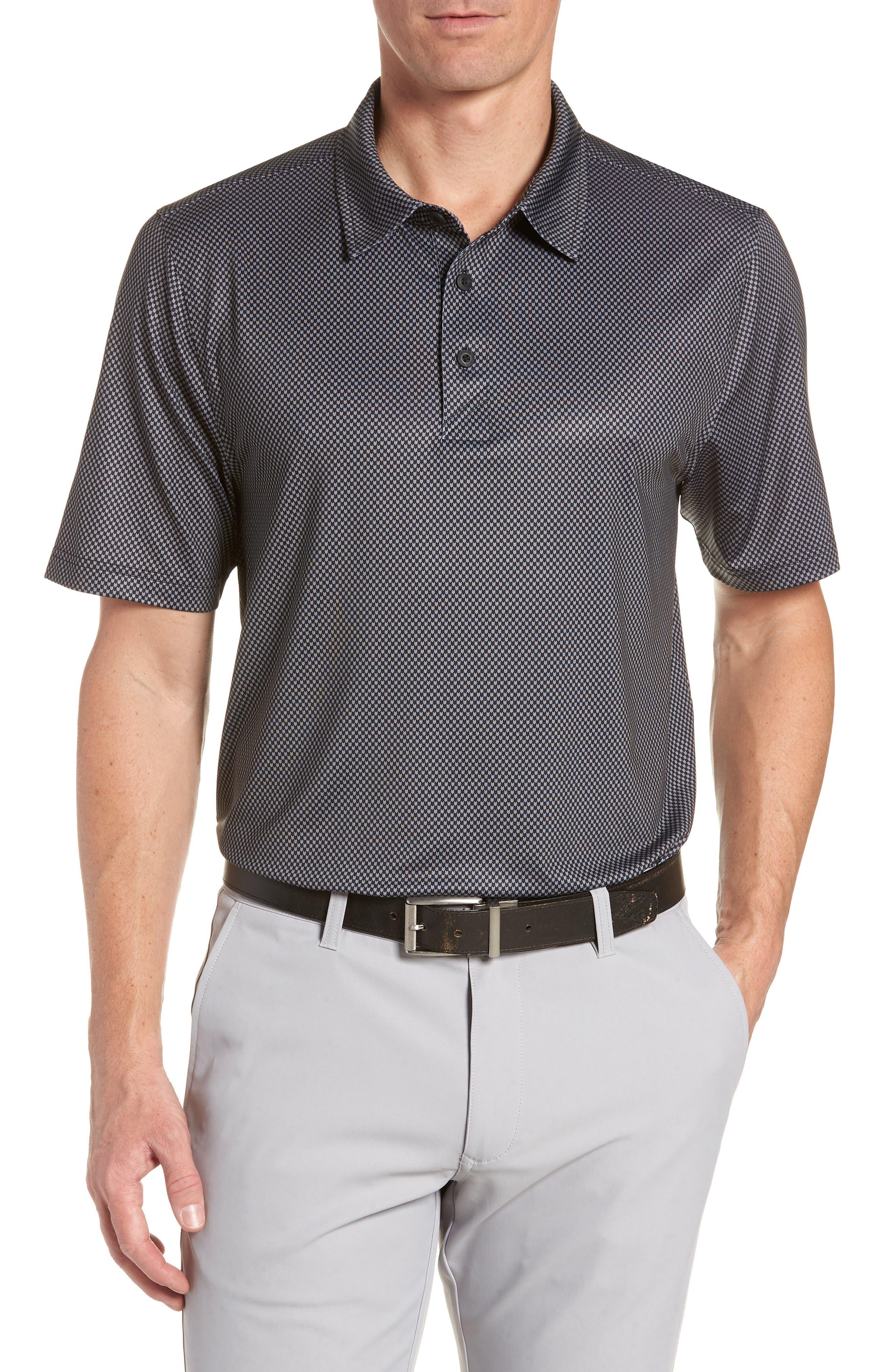 Chad Micro Pattern Polo,                         Main,                         color, BLACK
