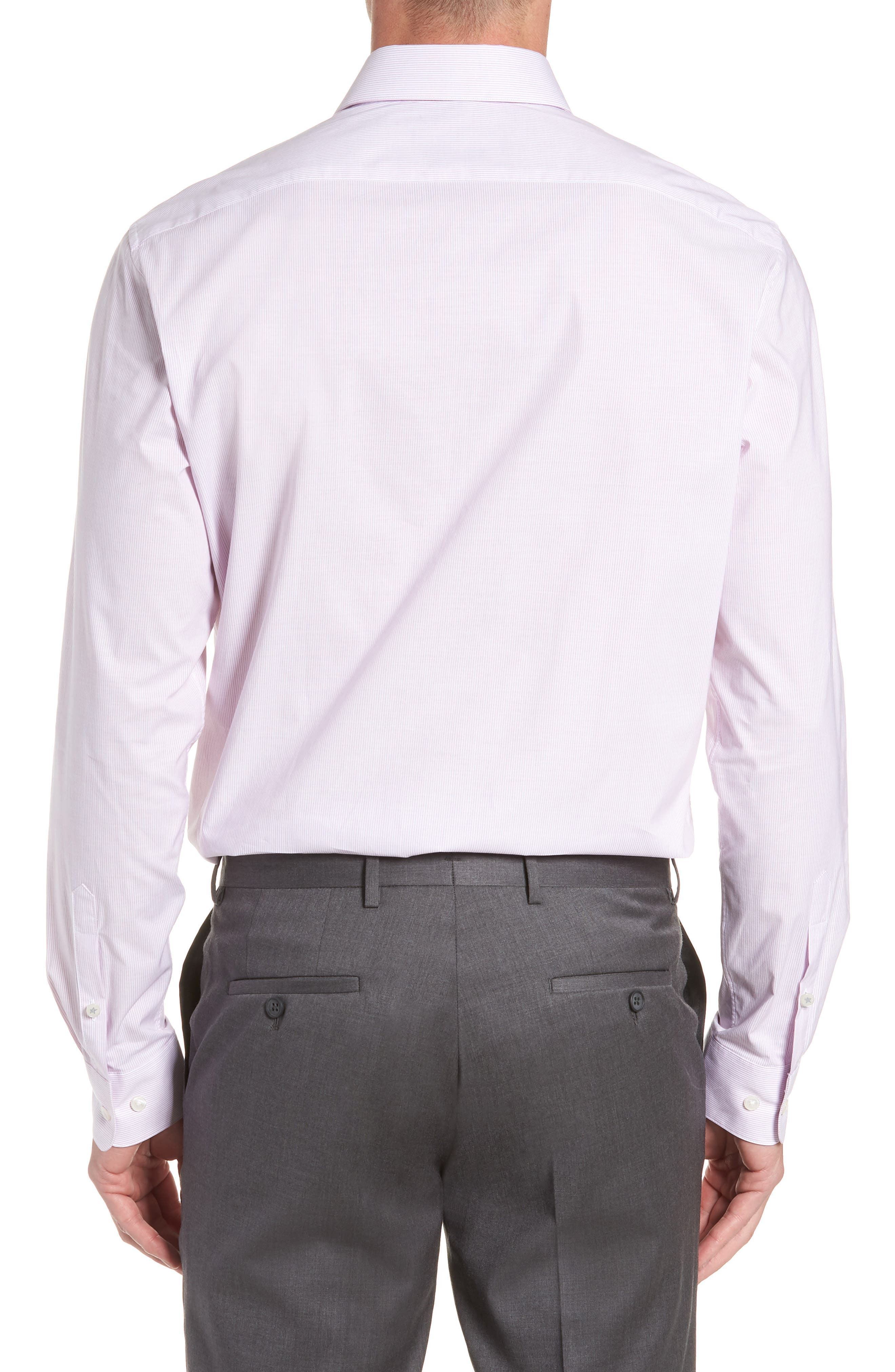 Stripe Regular Fit Dress Shirt,                             Alternate thumbnail 3, color,                             GRAPE