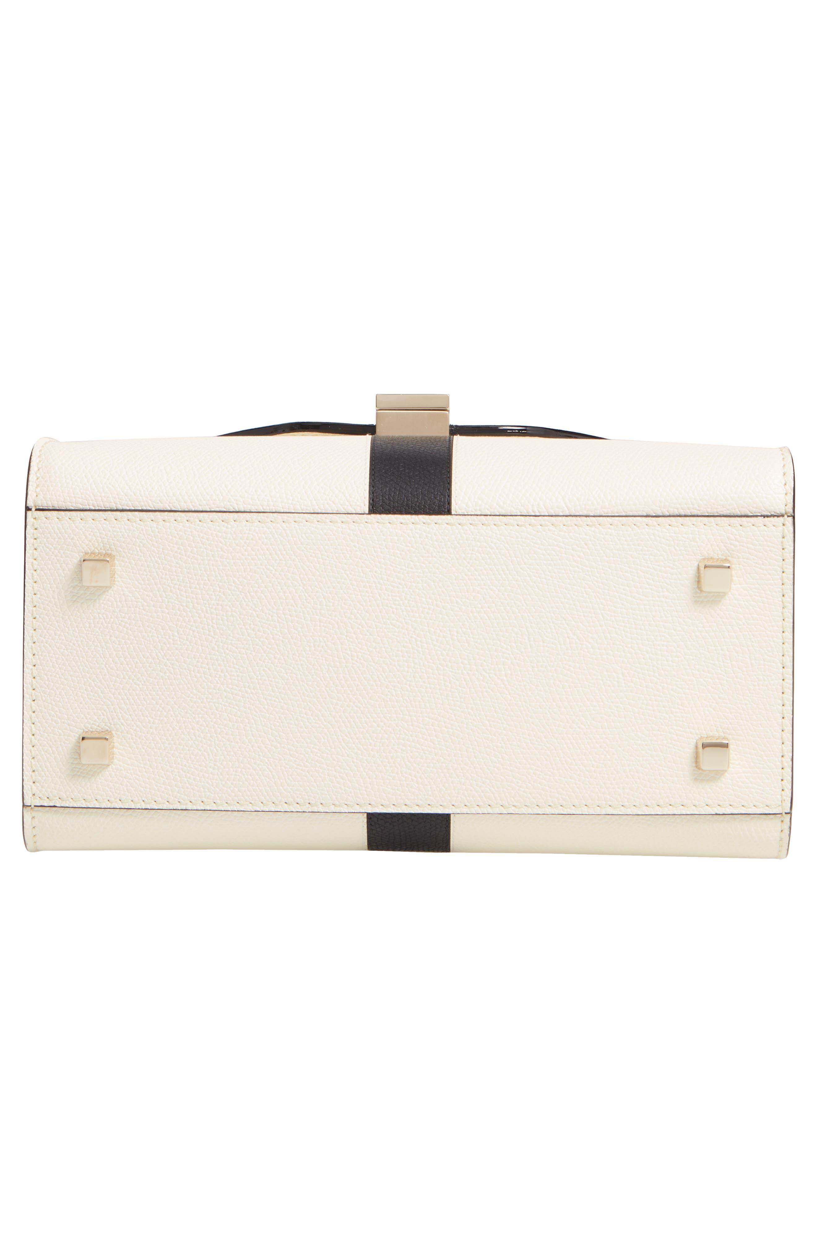 Mini Iside Top Handle Bag,                             Alternate thumbnail 6, color,                             WHITE/ BLACK