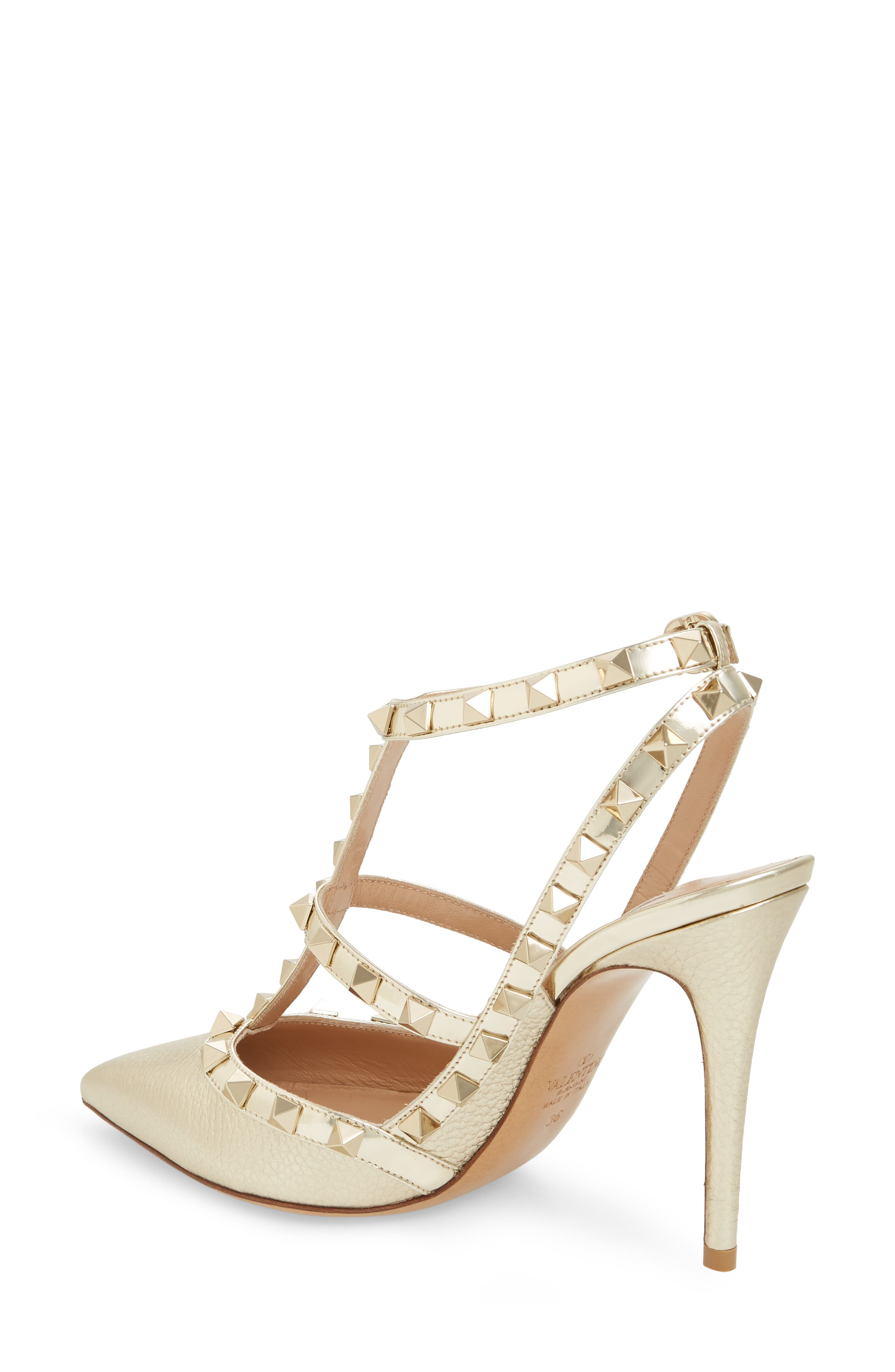 Rockstud T-Strap Pump,                             Alternate thumbnail 2, color,                             PLATINO