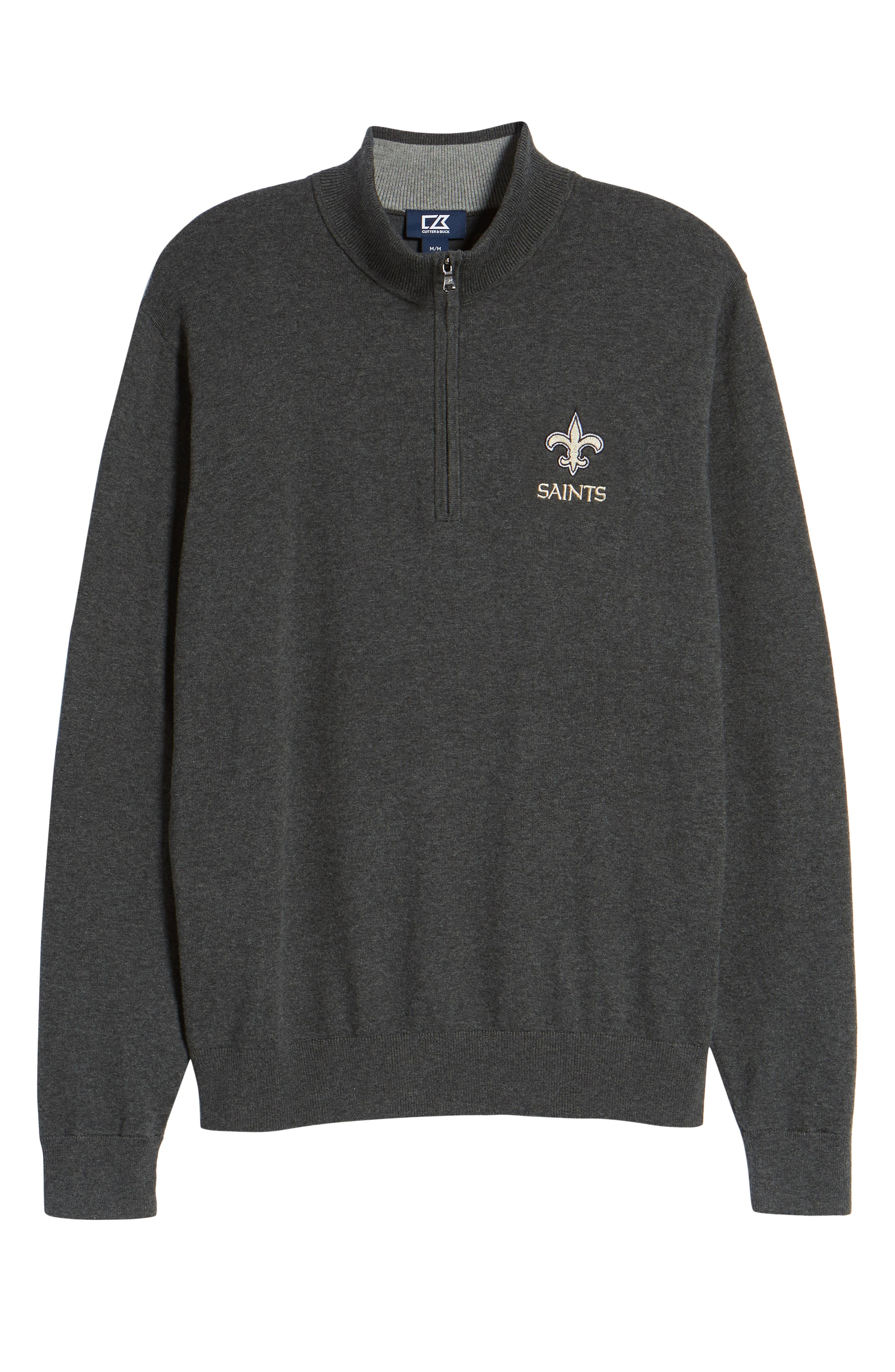 New Orleans Saints - Lakemont Regular Fit Quarter Zip Sweater,                             Alternate thumbnail 6, color,                             CHARCOAL HEATHER