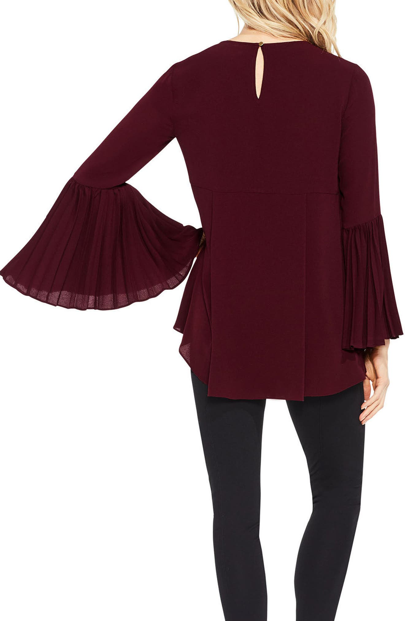 Pleat Bell Sleeve Blouse,                             Alternate thumbnail 5, color,
