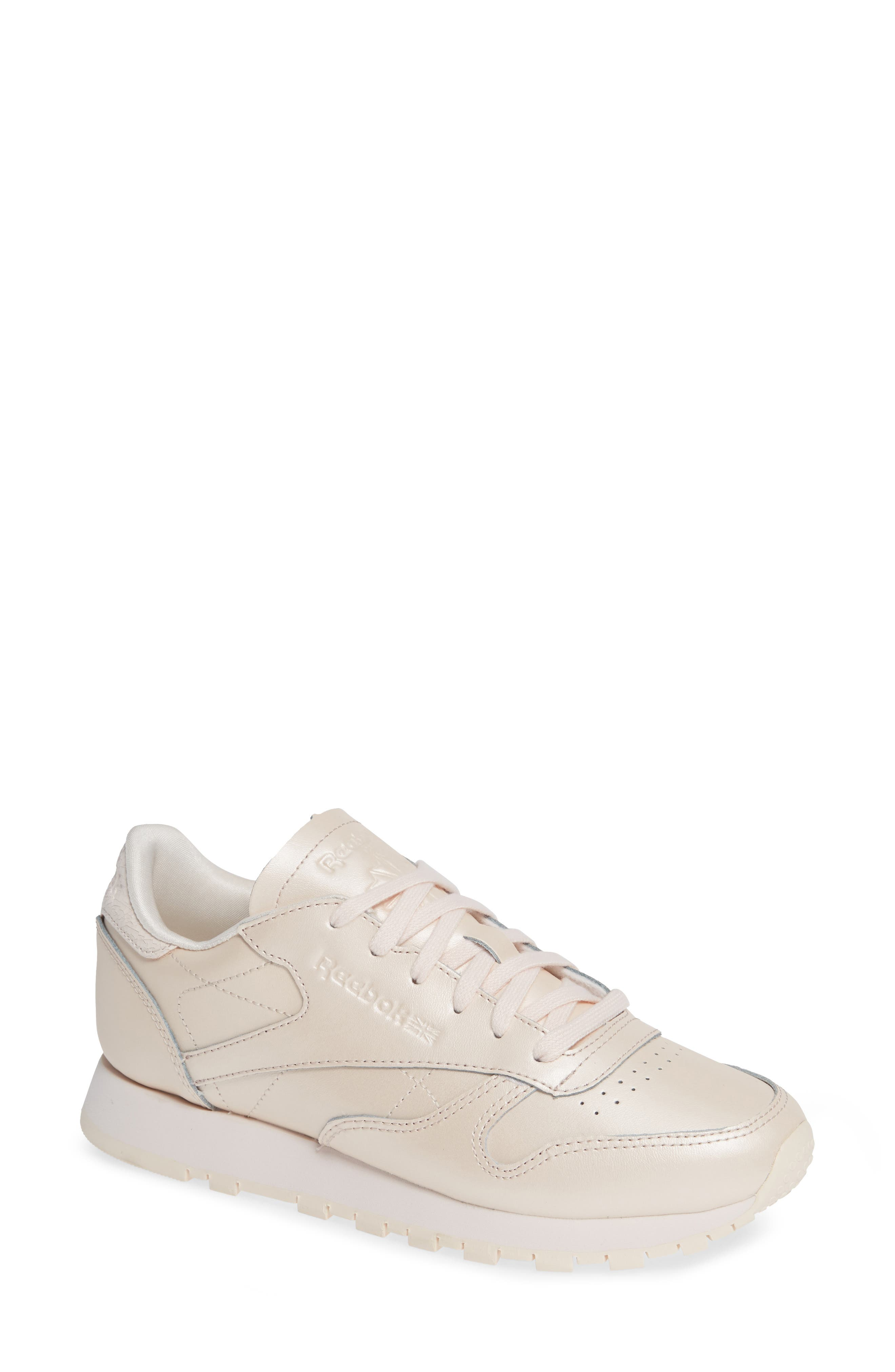 Classic Leather Sneaker,                             Main thumbnail 1, color,                             PALE PINK