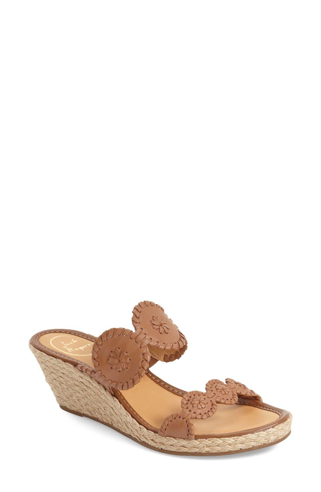 'Shelby' Whipstitched Wedge Sandal,                             Main thumbnail 1, color,                             COGNAC