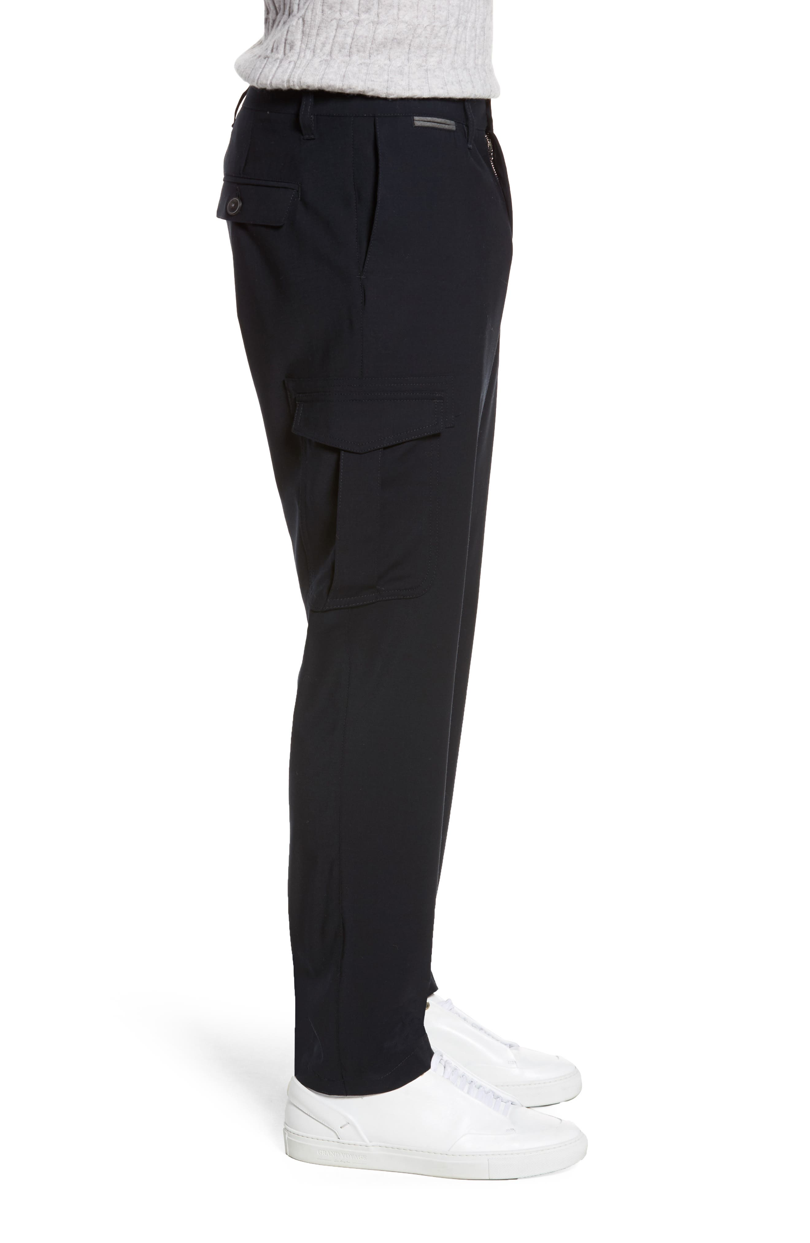 Stretch Wool Cargo Trousers,                             Alternate thumbnail 3, color,                             400
