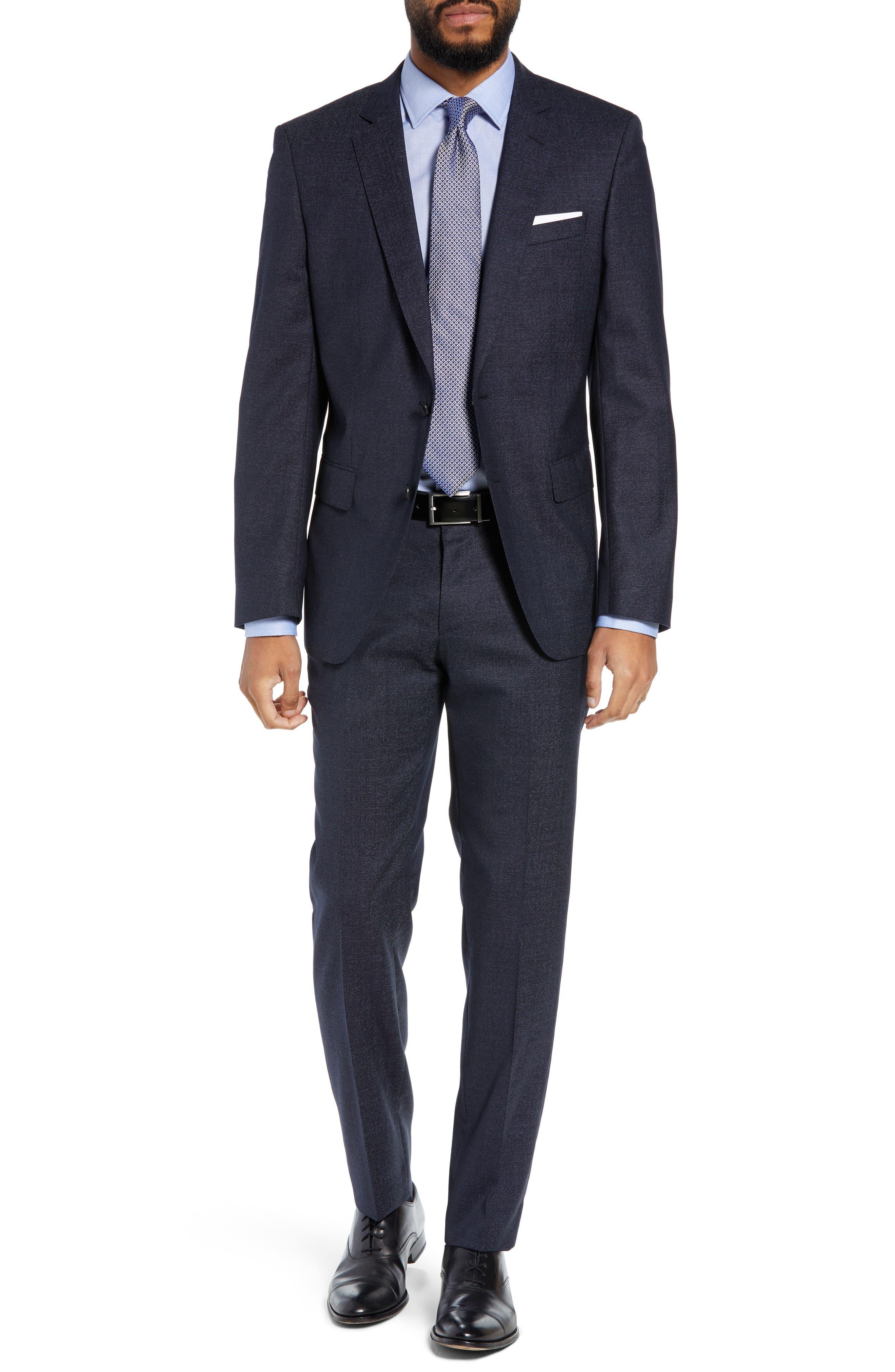 Huge/Genius Trim Fit Solid Wool Suit,                             Main thumbnail 1, color,                             OPEN BLUE