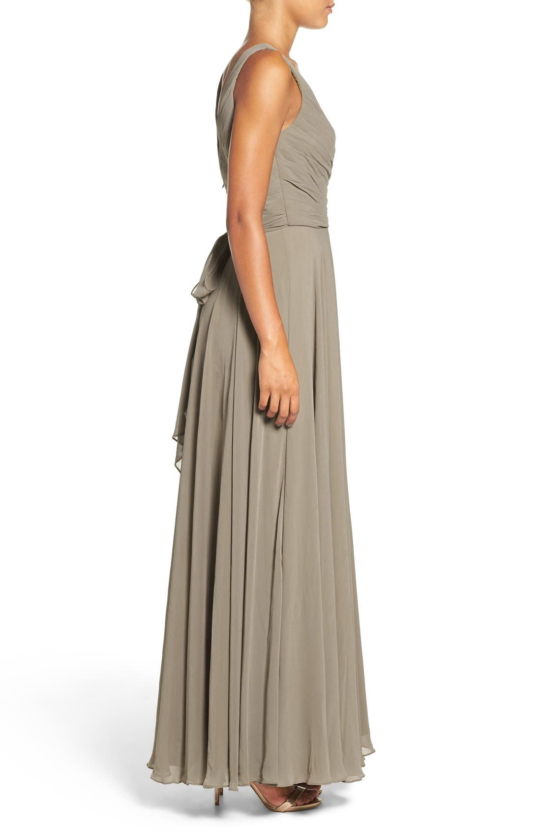 Karen V-Neck A-Line Chiffon Gown,                             Alternate thumbnail 6, color,                             020