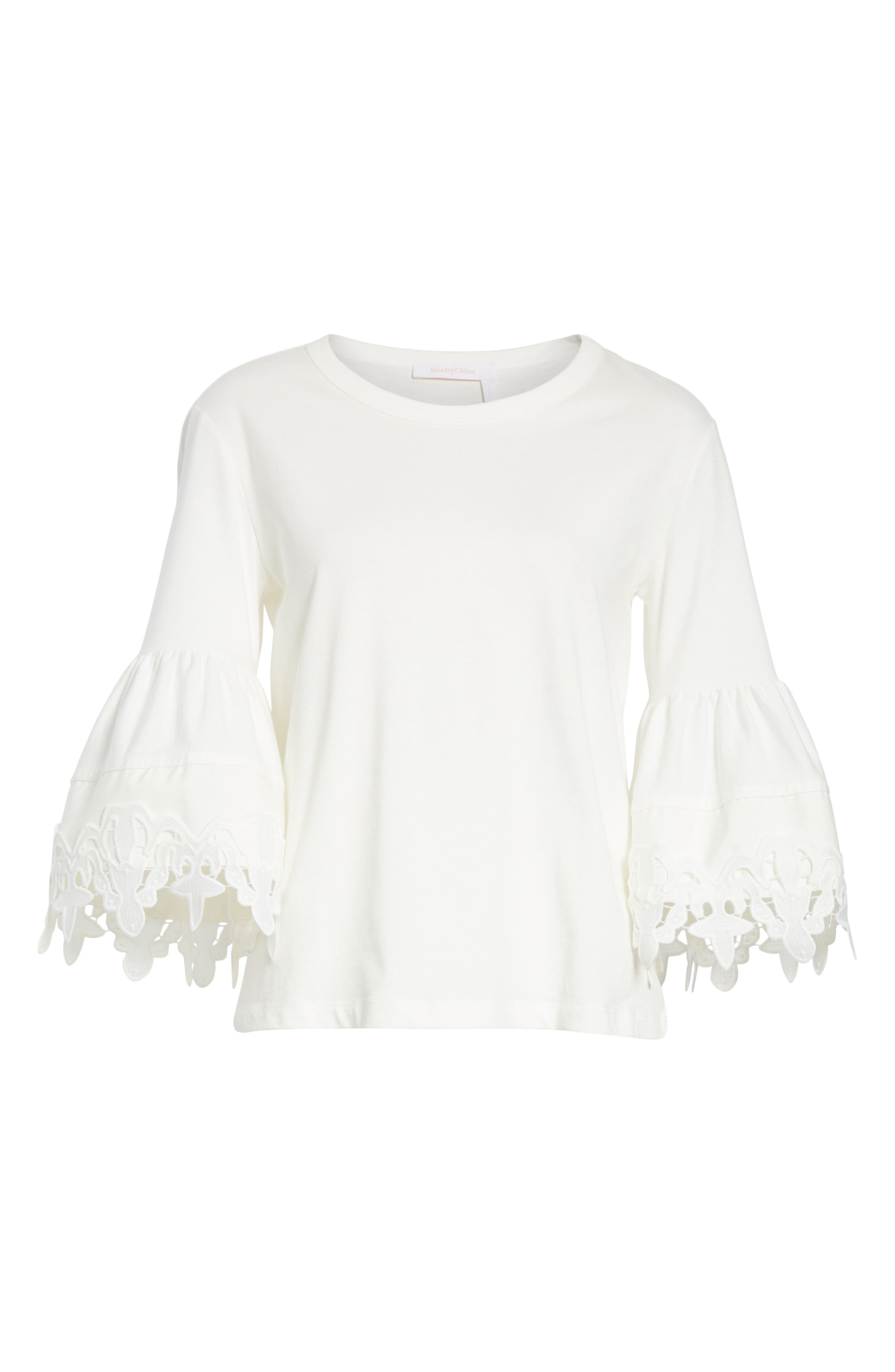 Lace Trim Bell Sleeve Top,                             Alternate thumbnail 12, color,