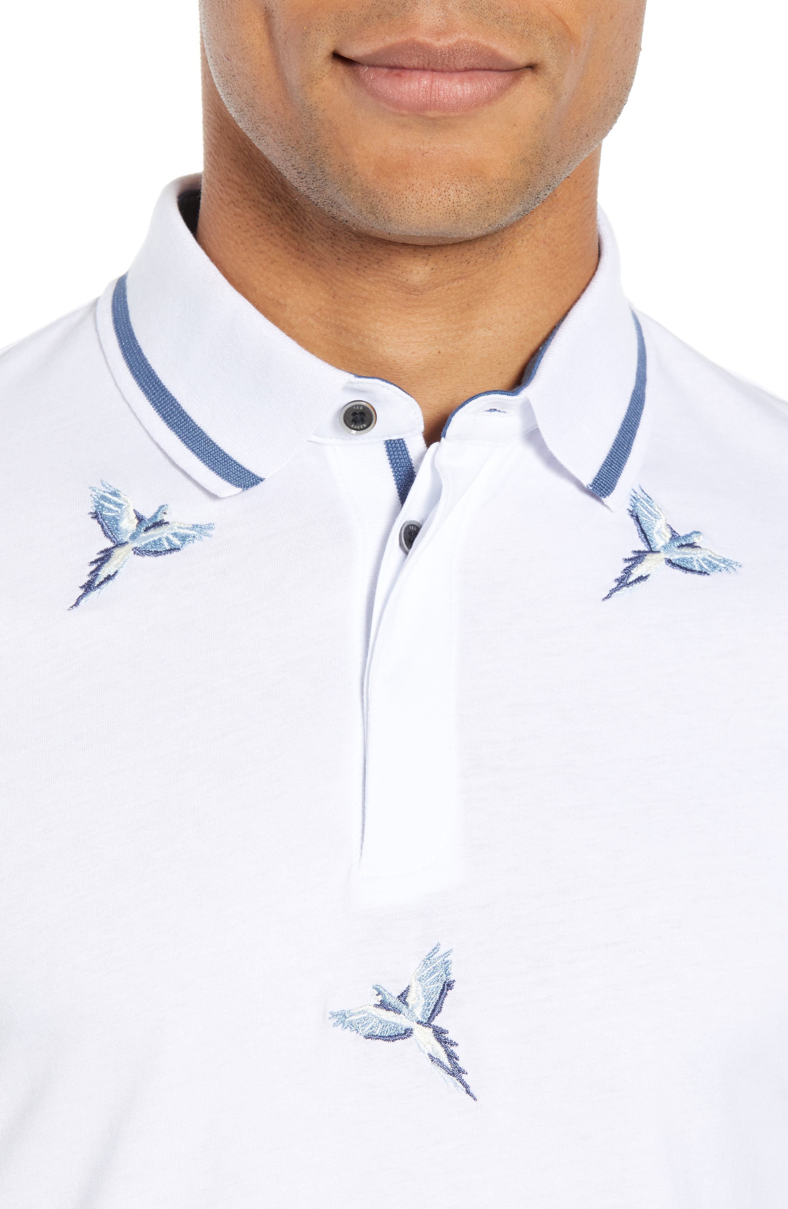 Slim Fit Hapnes Embroidered Bird Polo,                             Alternate thumbnail 4, color,                             WHITE