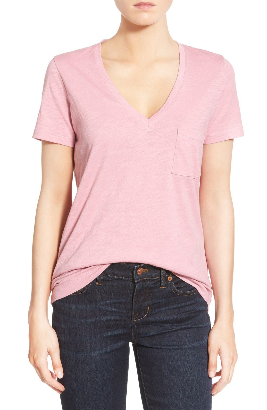 Whisper Cotton V-Neck Pocket Tee,                             Main thumbnail 34, color,