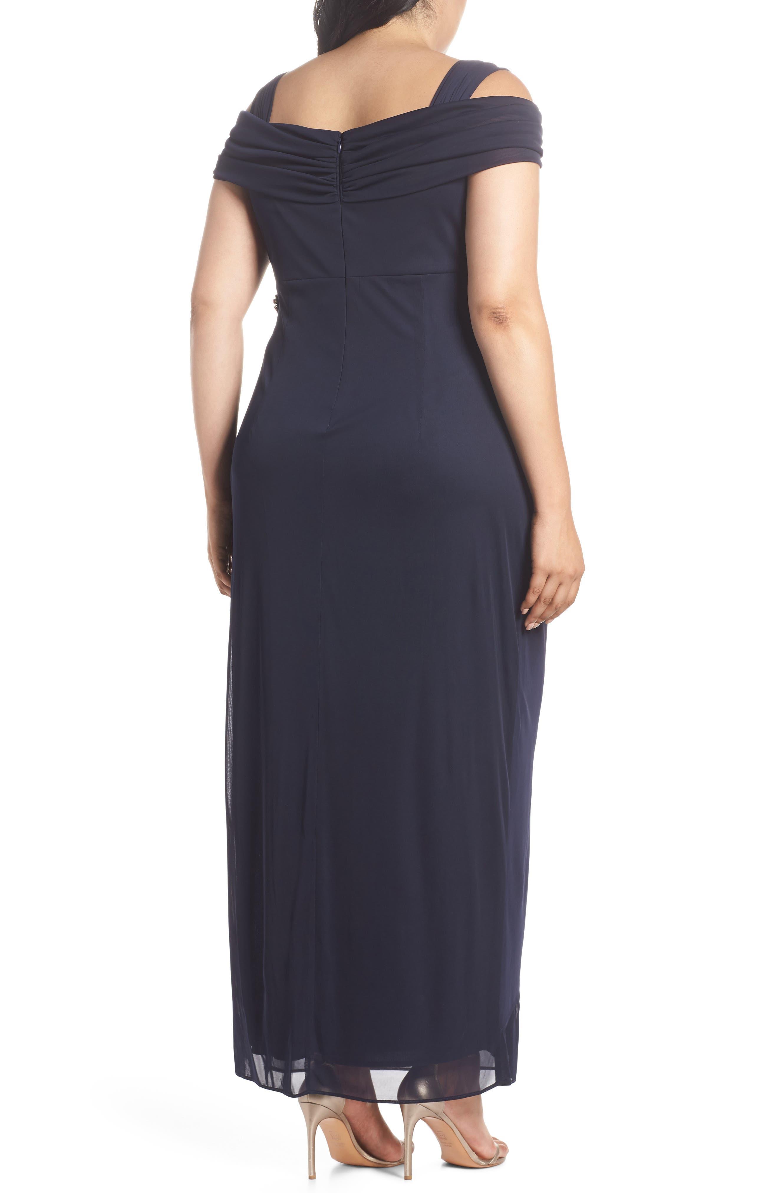 Embellished Cold Shoulder Gown,                             Alternate thumbnail 2, color,                             NAVY