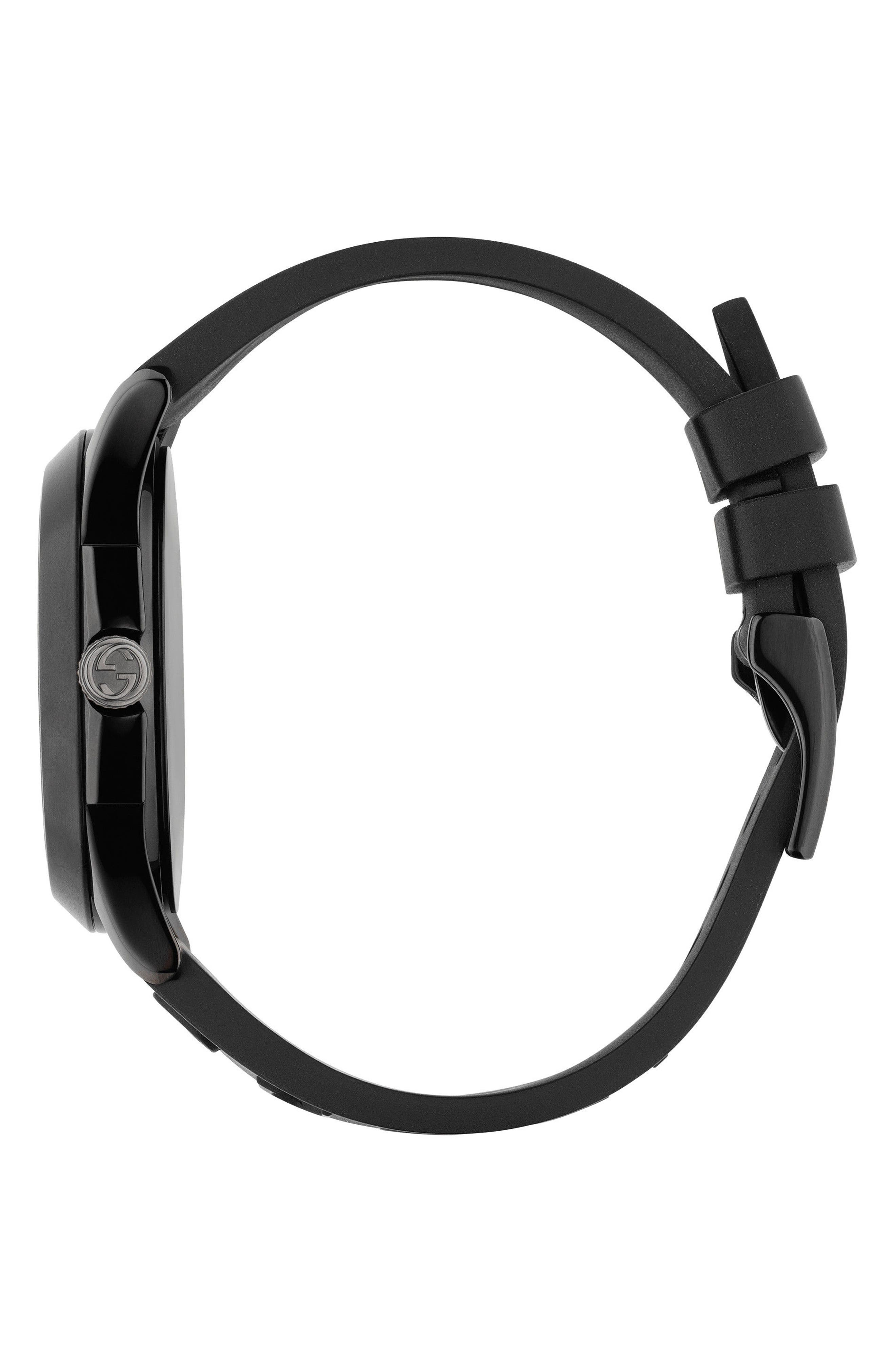Real Rubber Strap Watch, 38mm,                             Alternate thumbnail 3, color,                             BLACK