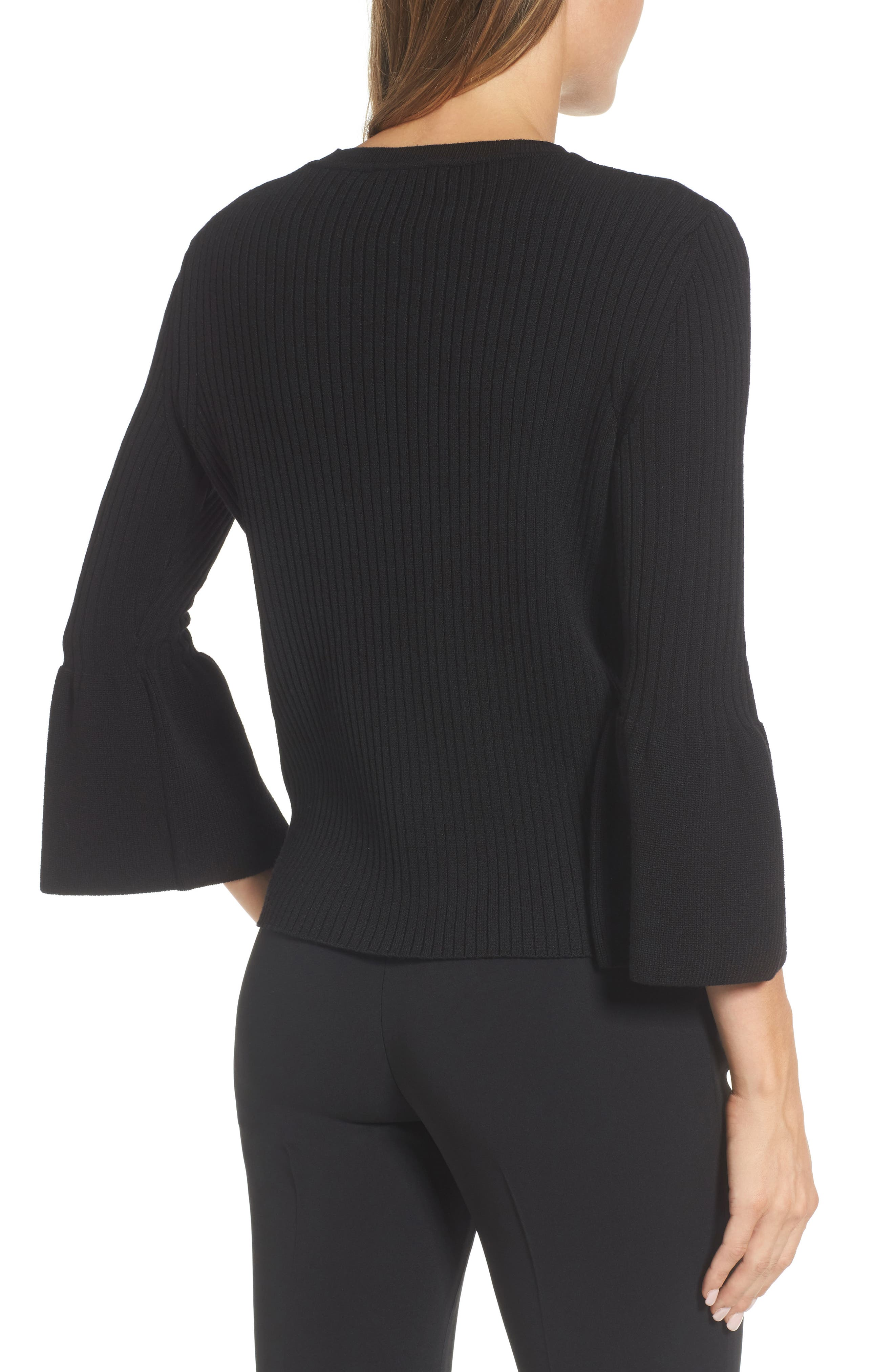 Fantasia Ribbed Bell Sleeve Sweater,                             Alternate thumbnail 2, color,                             001