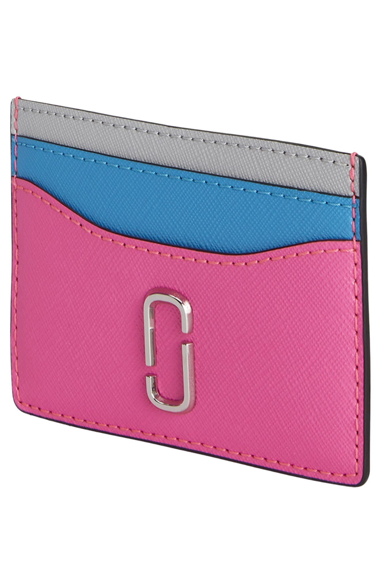 Snapshot Leather Card Case,                             Alternate thumbnail 3, color,                             BRIGHT PINK MULTI