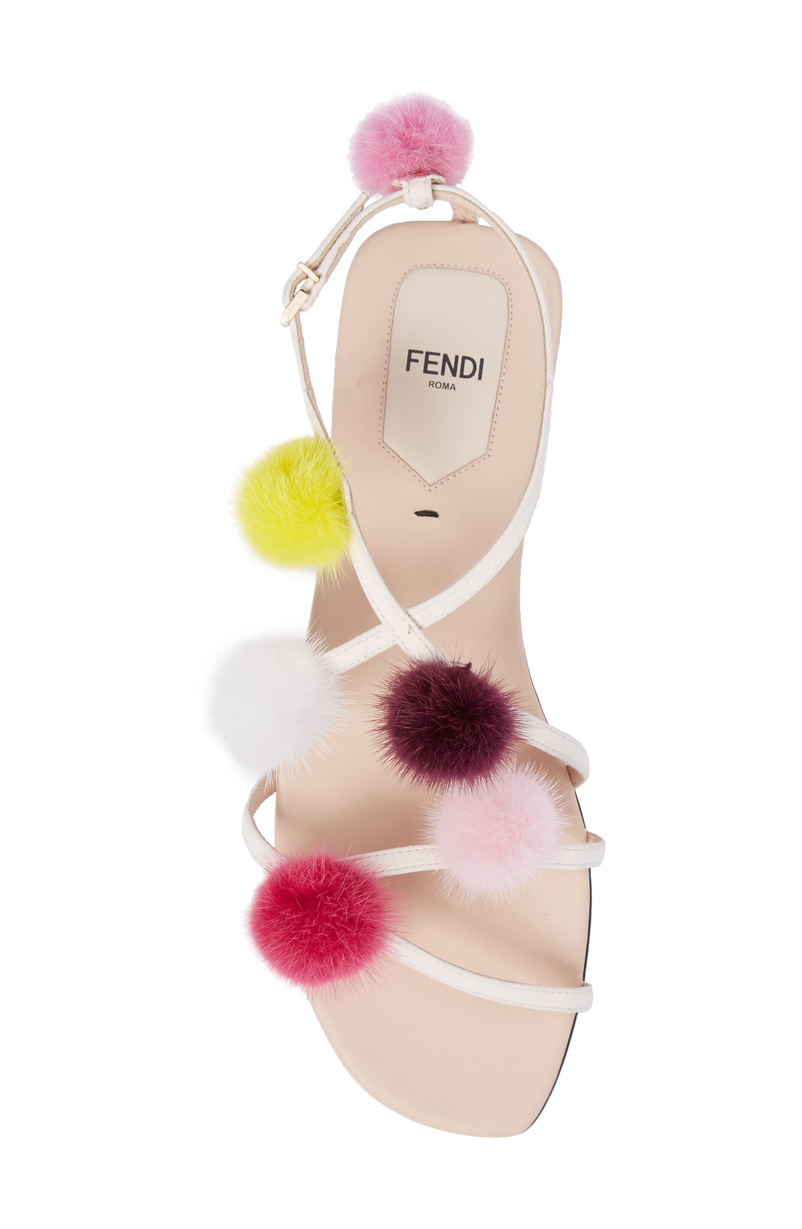 Genuine Mink Fur Pompom Gladiator Sandal,                             Alternate thumbnail 5, color,                             250