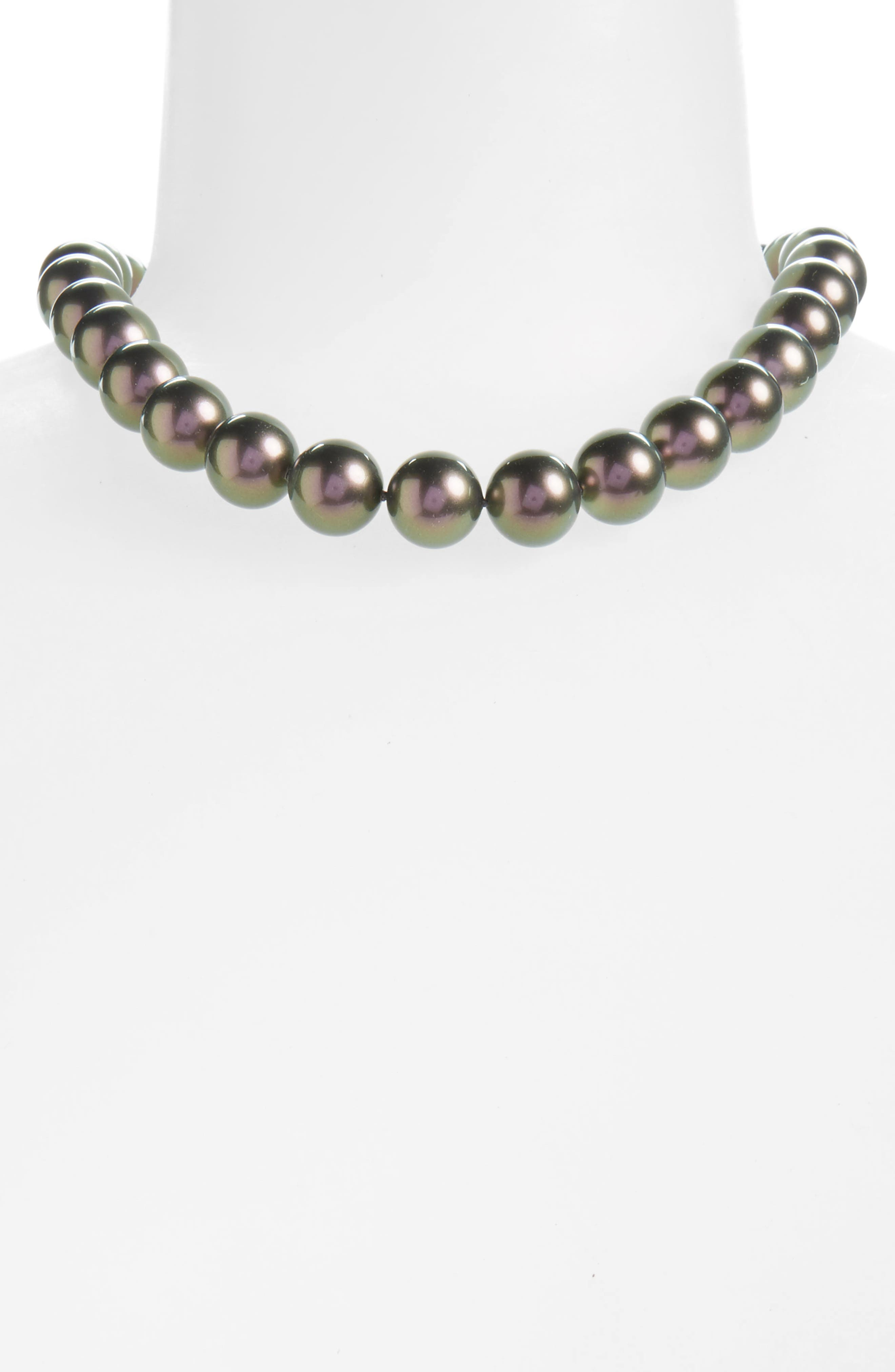 14mm Simulated Pearl Strand Necklace,                             Alternate thumbnail 2, color,                             020