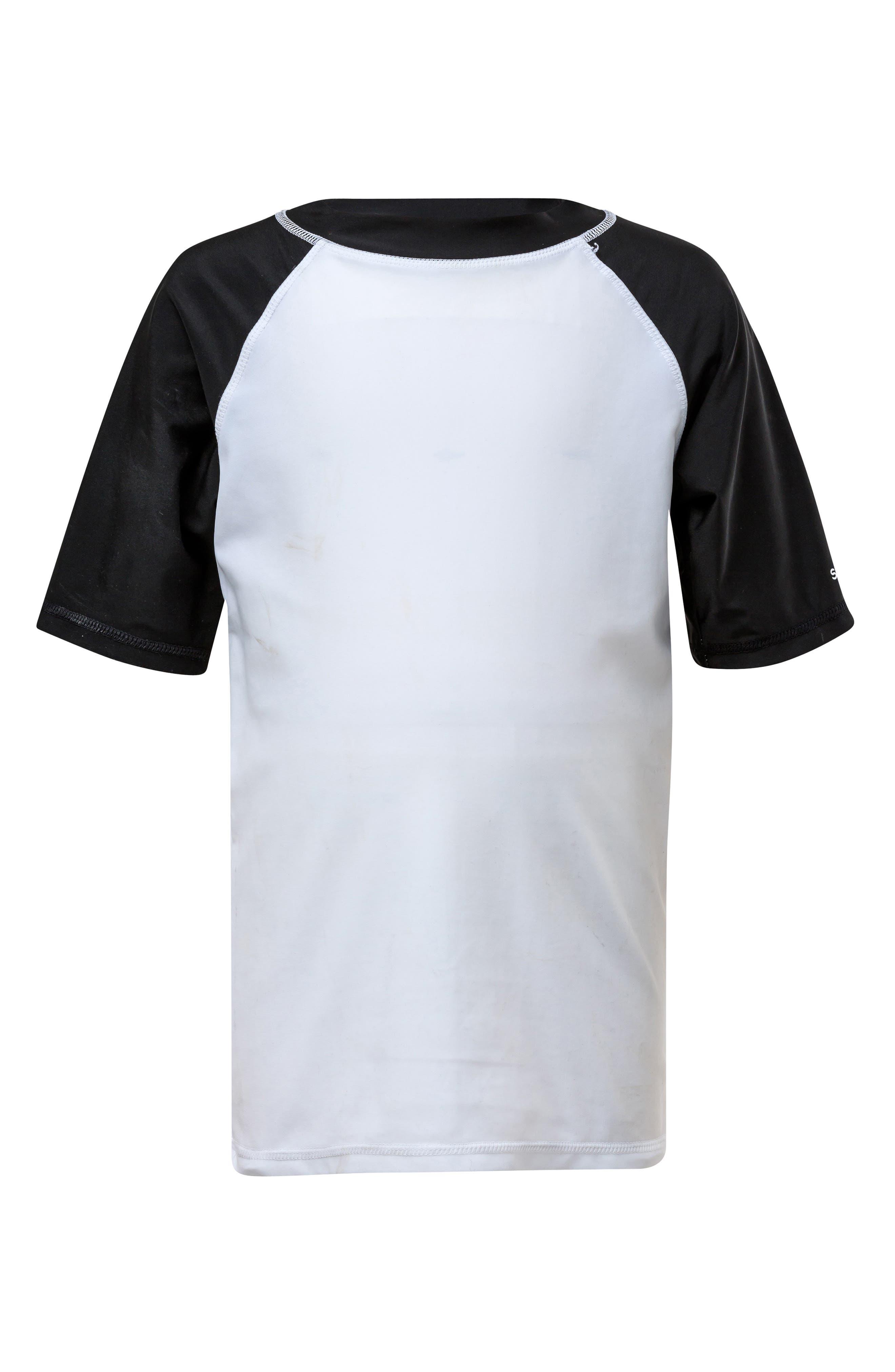 Raglan Rashguard,                         Main,                         color, WHITE W/ BLACK