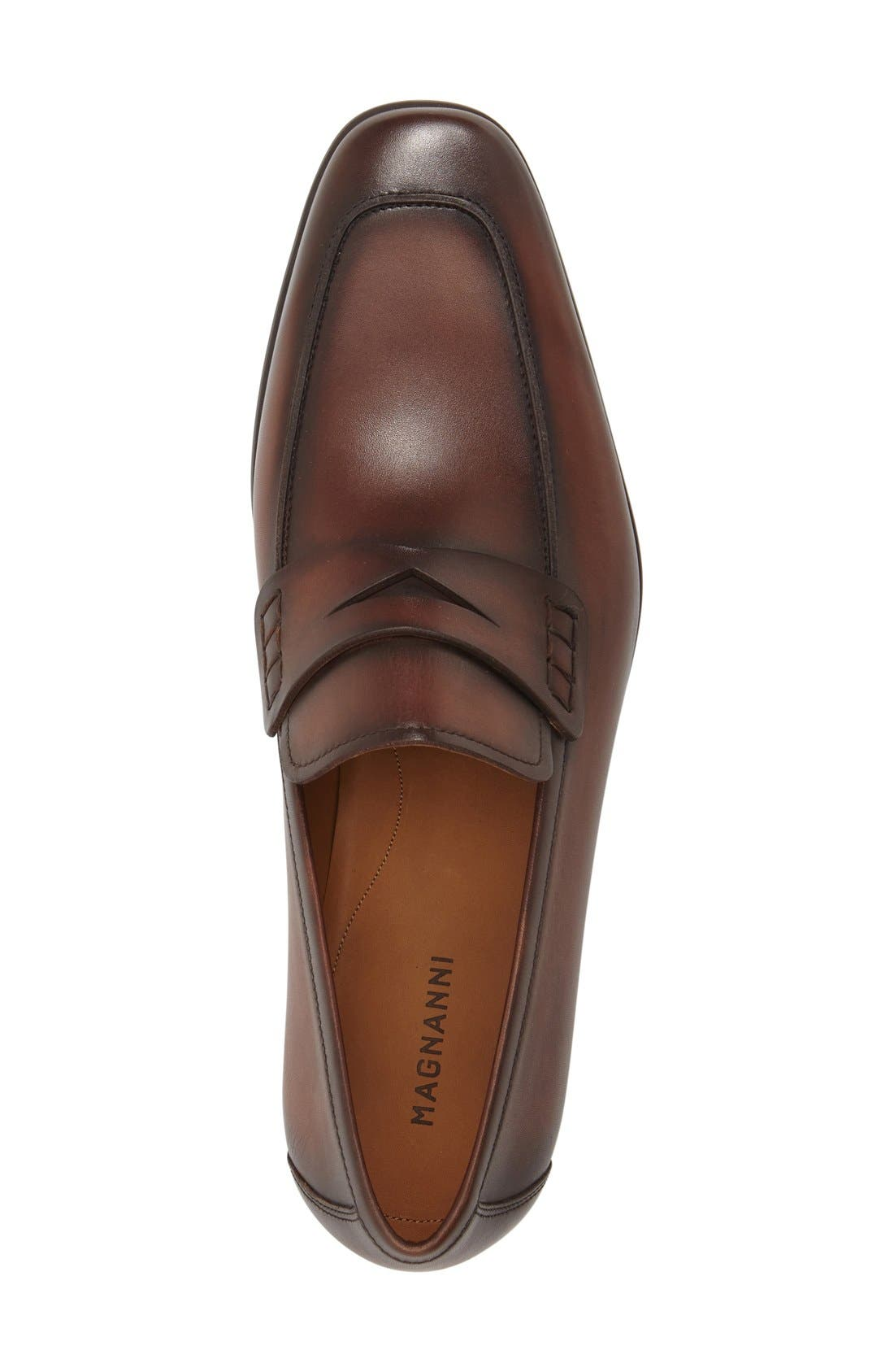 'Ramiro II' Penny Loafer,                             Alternate thumbnail 4, color,                             MID BROWN LEATHER