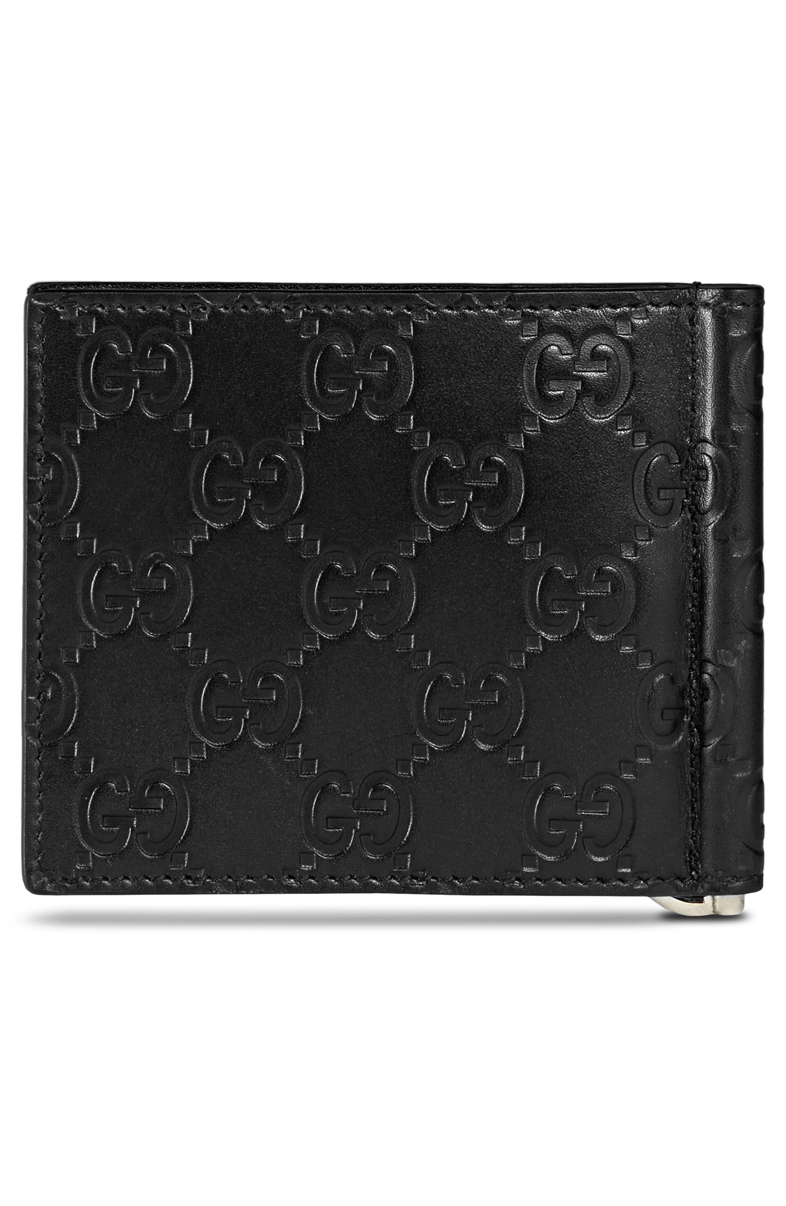 Signature Leather Money Clip Card Case,                             Alternate thumbnail 3, color,                             001
