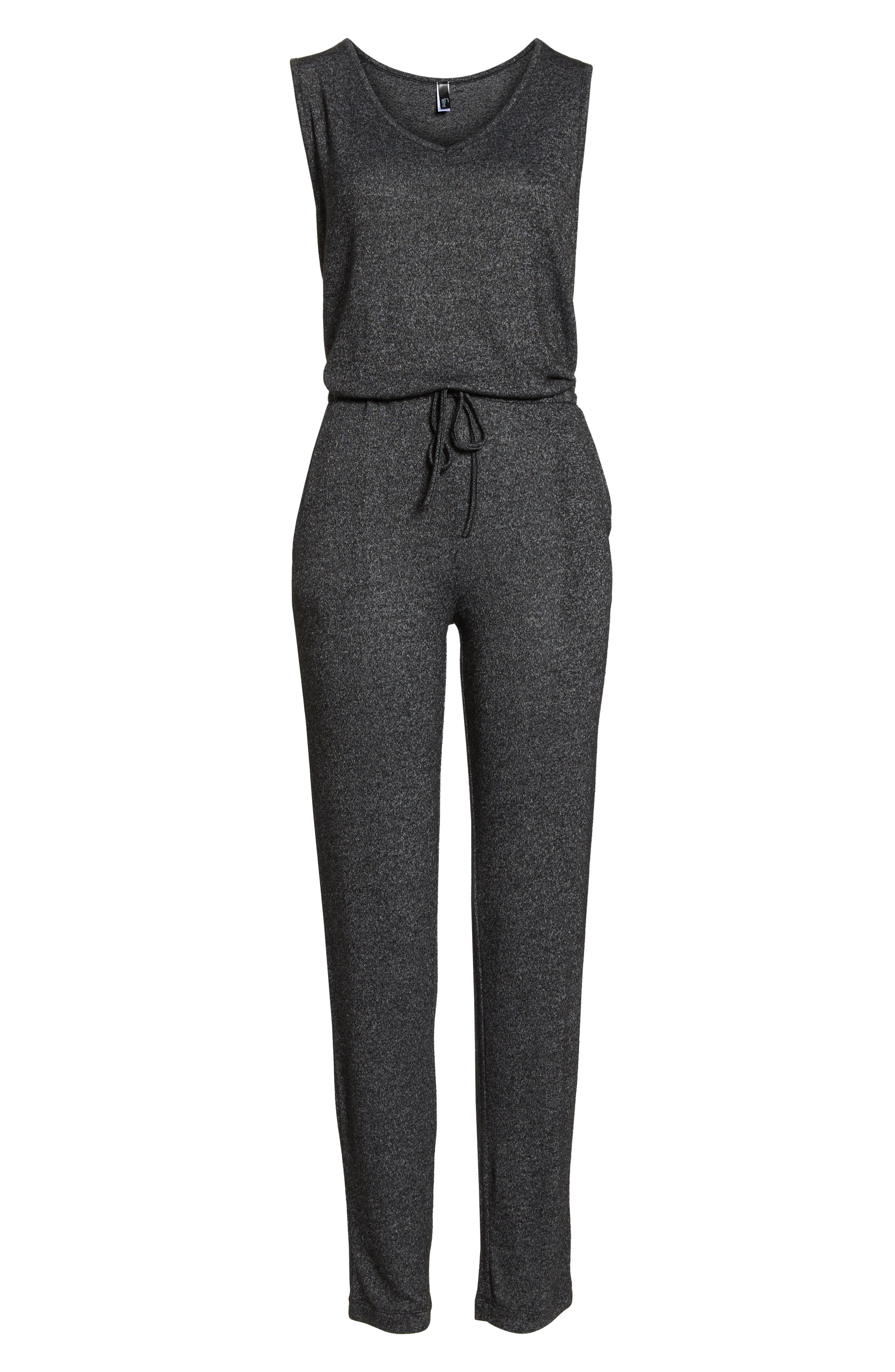 Charlize Lounge Jumpsuit,                             Alternate thumbnail 6, color,                             BLACK