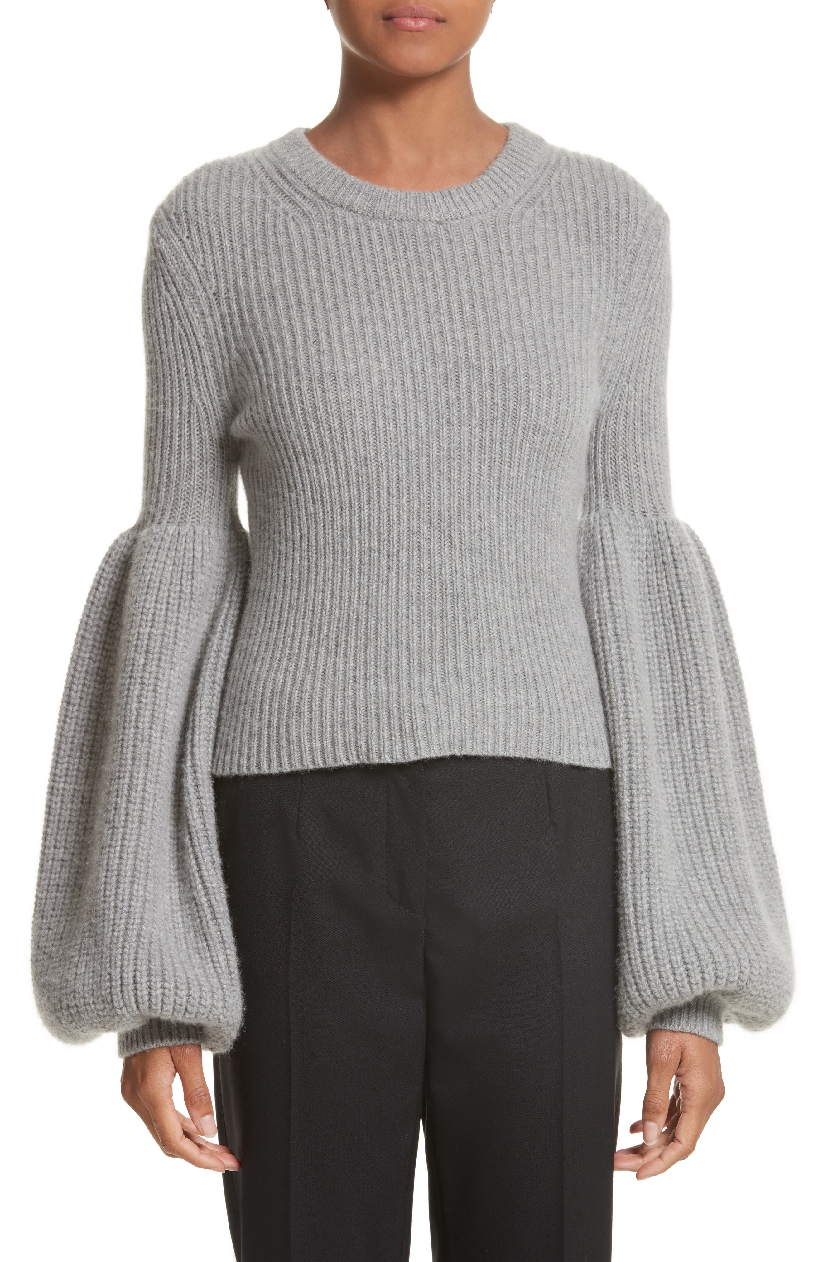 Puff Lantern Sleeve Wool & Cashmere Blend Sweater,                             Main thumbnail 1, color,                             020