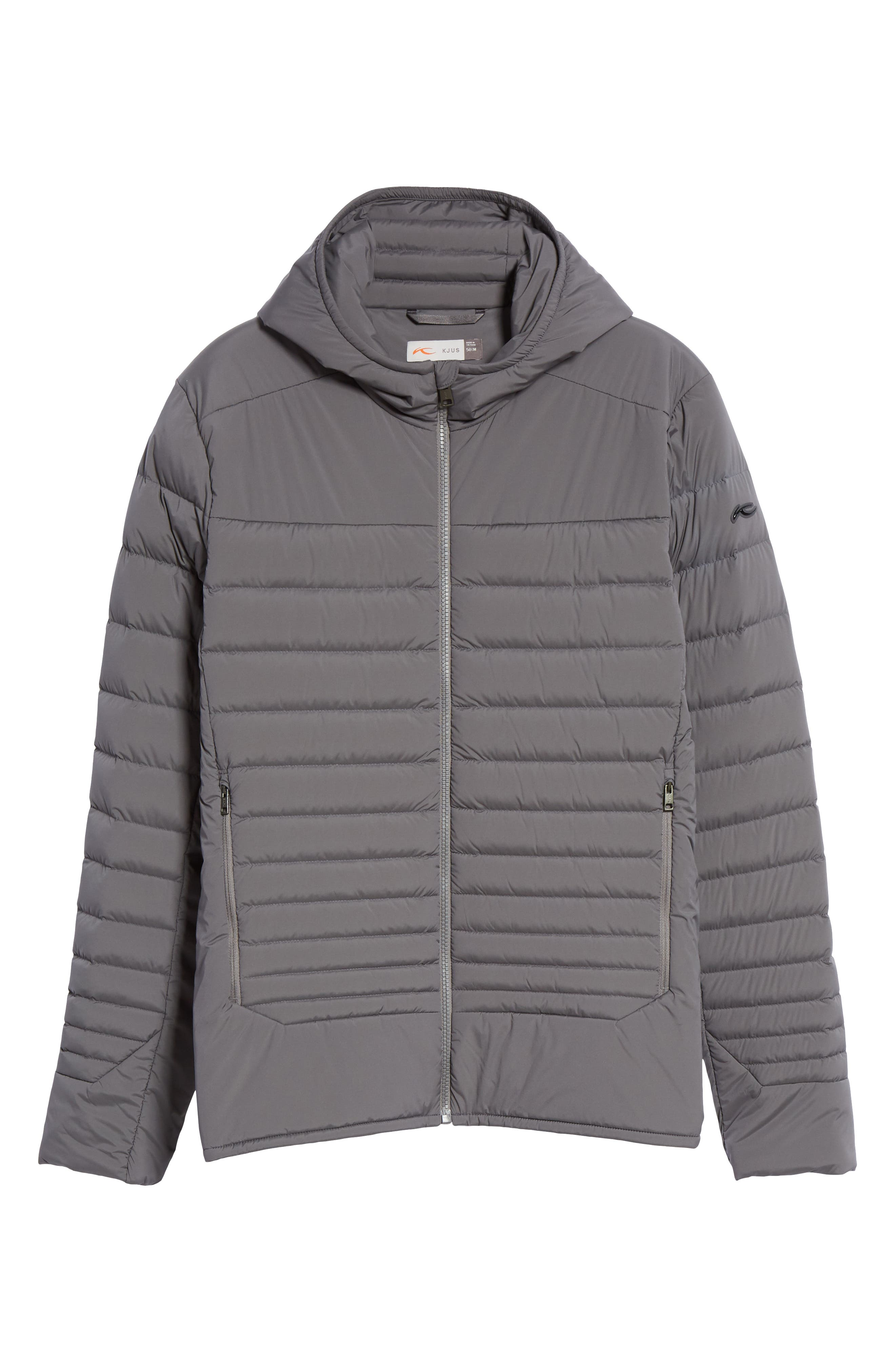 Blackcomb Stretch Hooded Men's Down Fill Jacket, Main, color, STEEL GREY