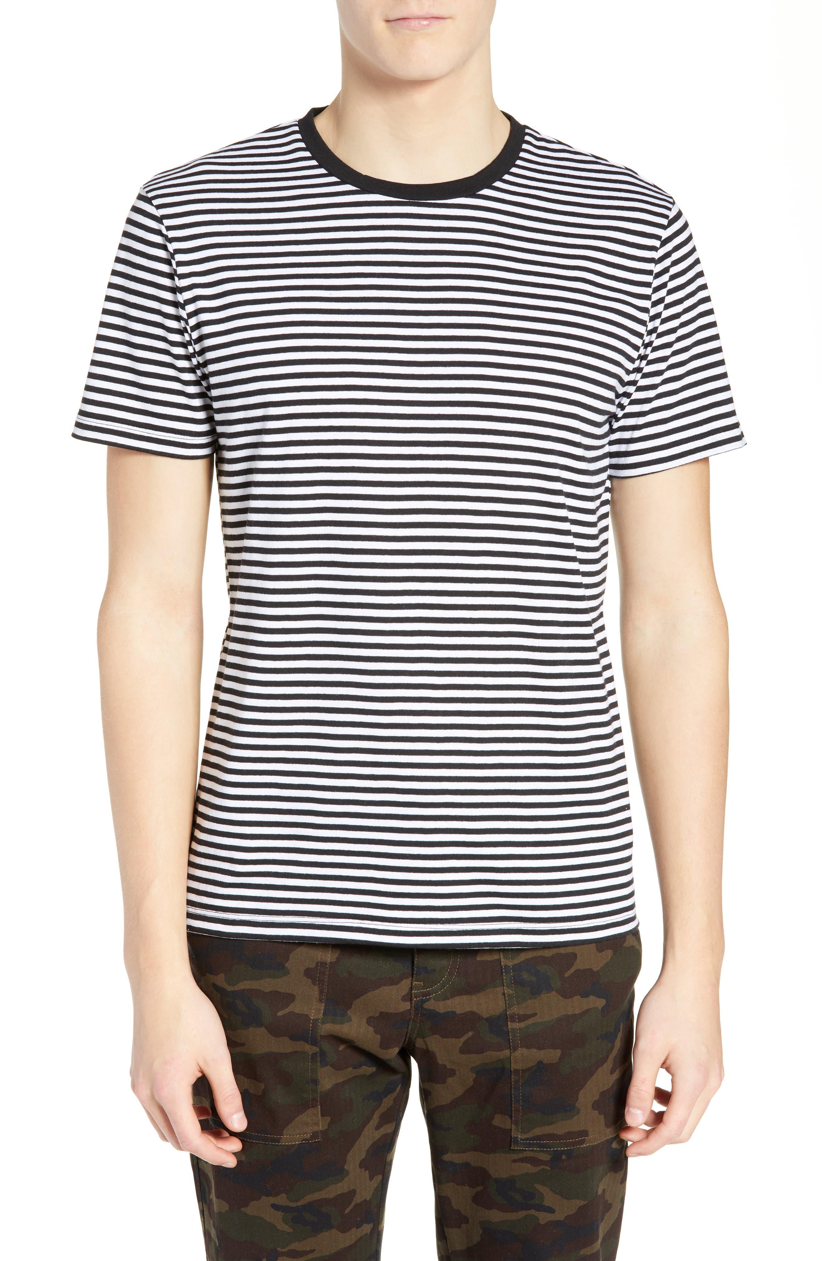 Stripe Crewneck T-Shirt, Main, color, BLACK ROCK - WHITE STRIPE