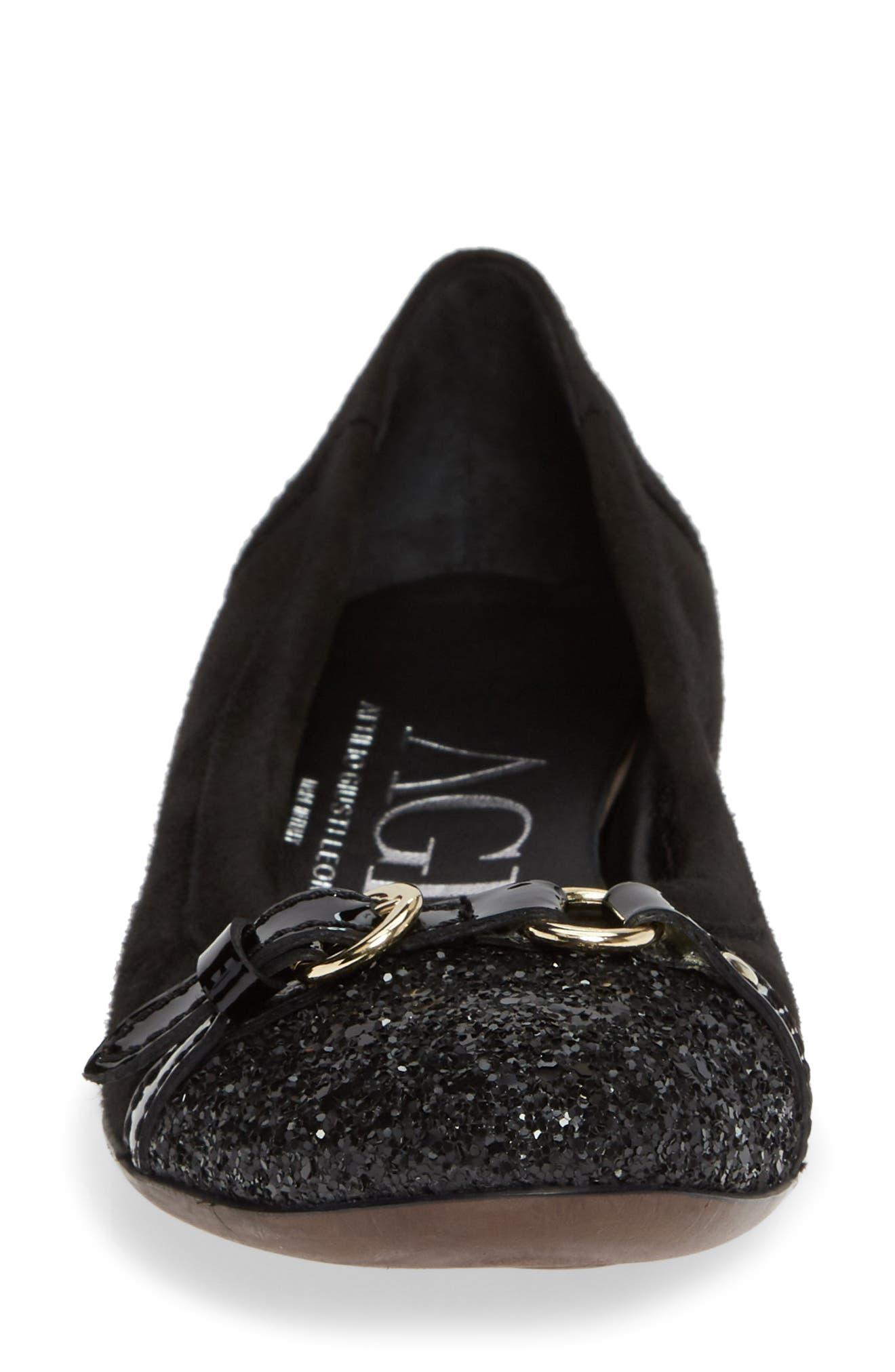 Cap Toe Ballet Flat,                             Alternate thumbnail 4, color,                             BLACK SUEDE