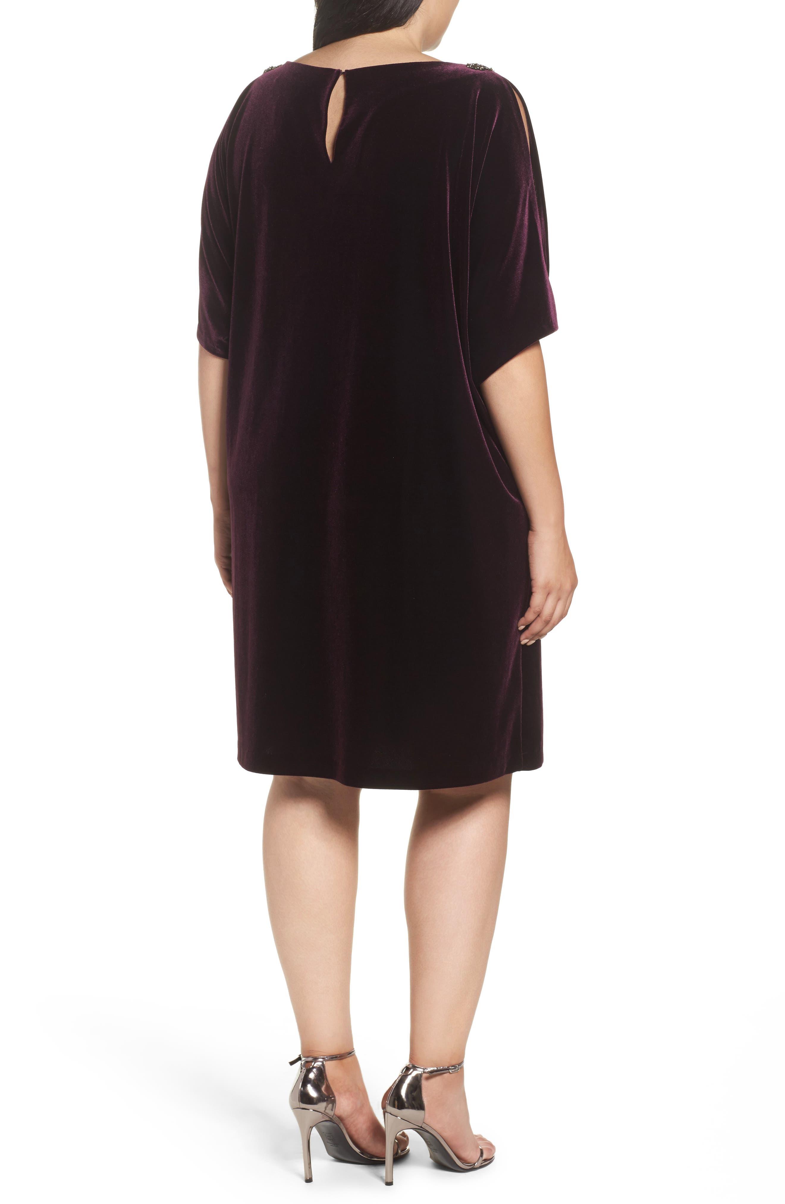 Embellished Velvet Shift Dress,                             Alternate thumbnail 2, color,