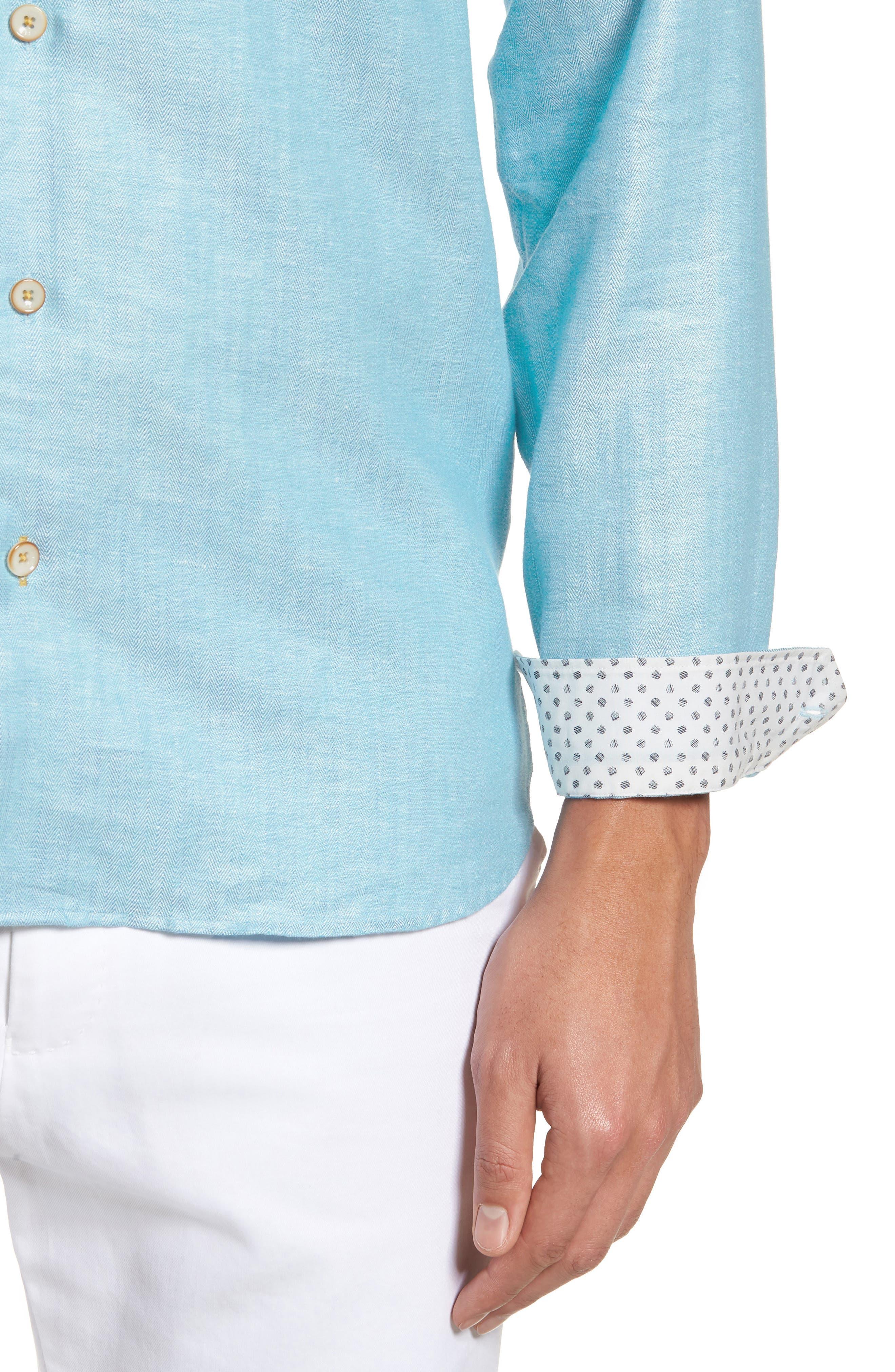 Linlins Herringbone Cotton & Linen Sport Shirt,                             Alternate thumbnail 19, color,